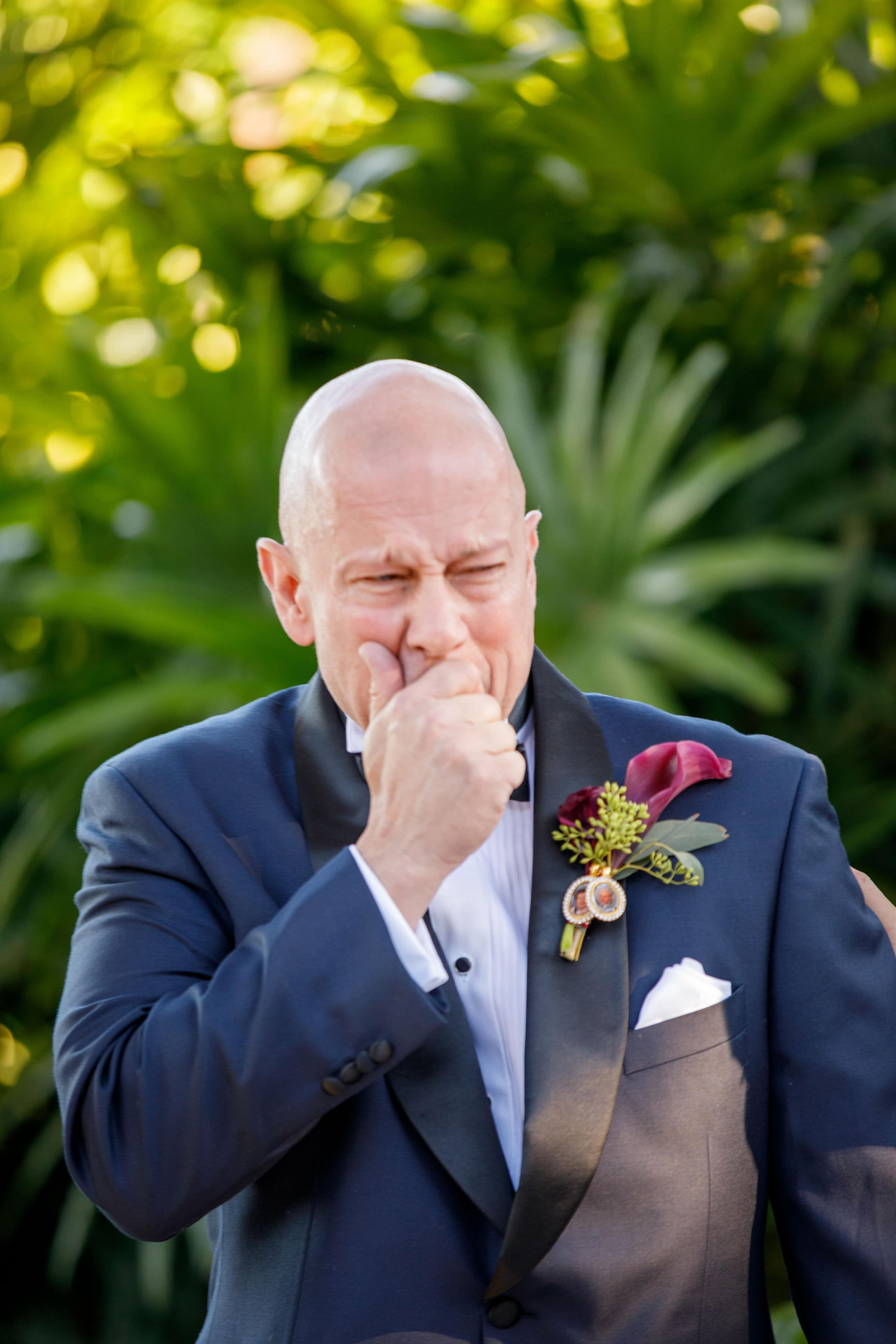 Groom getting emotional at wedding ceremony