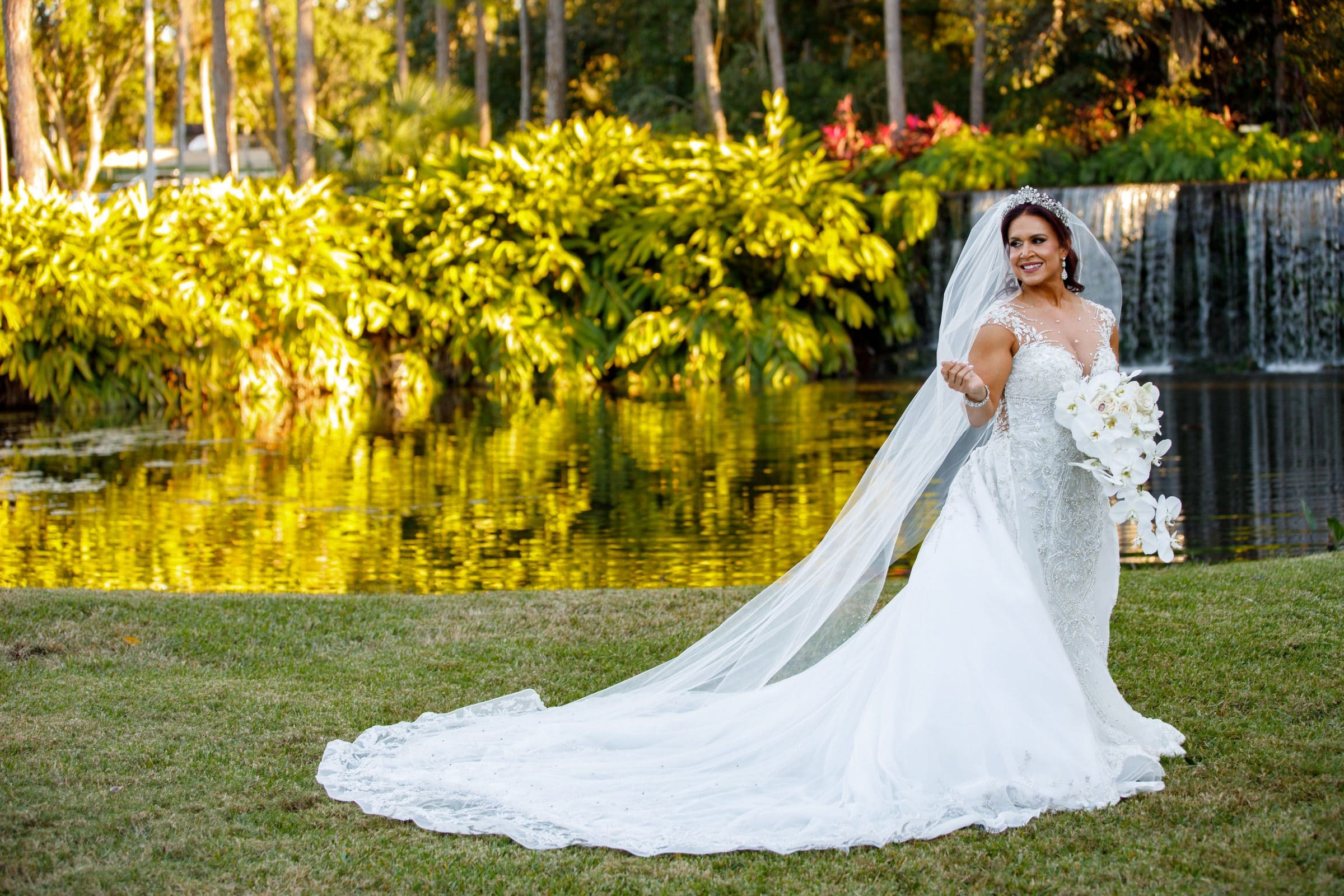 Bride at Waterfall