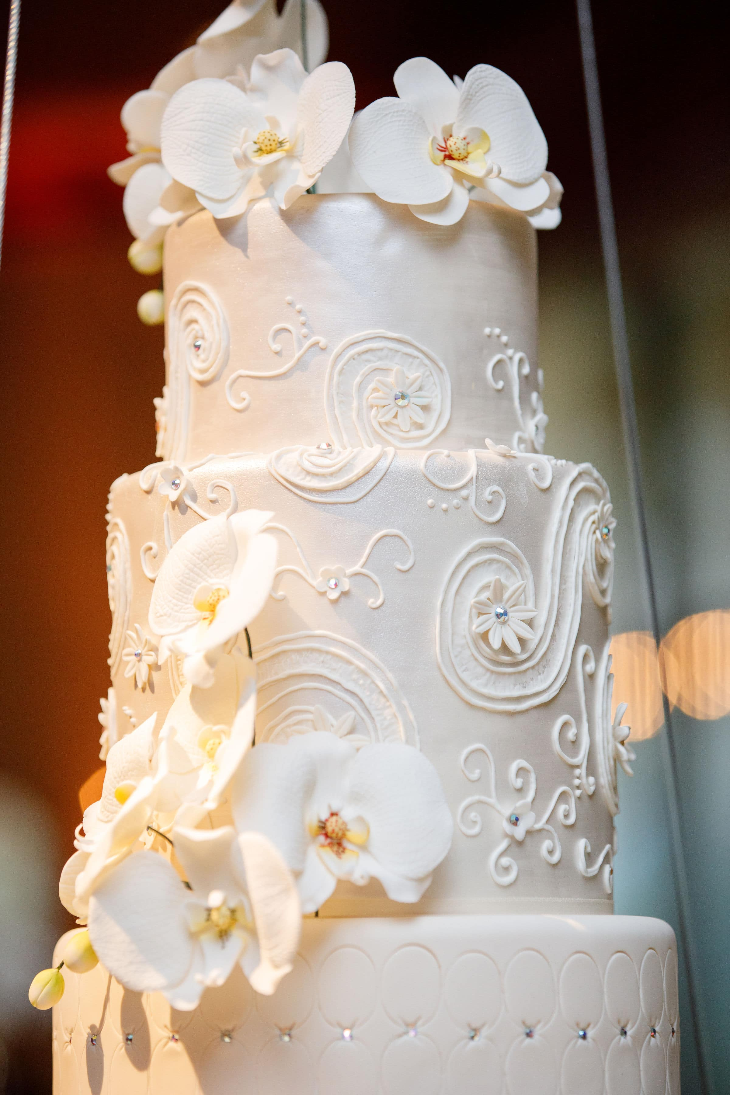 Zoomed in Detail of White Wedding Cake with Swavorski Crystal