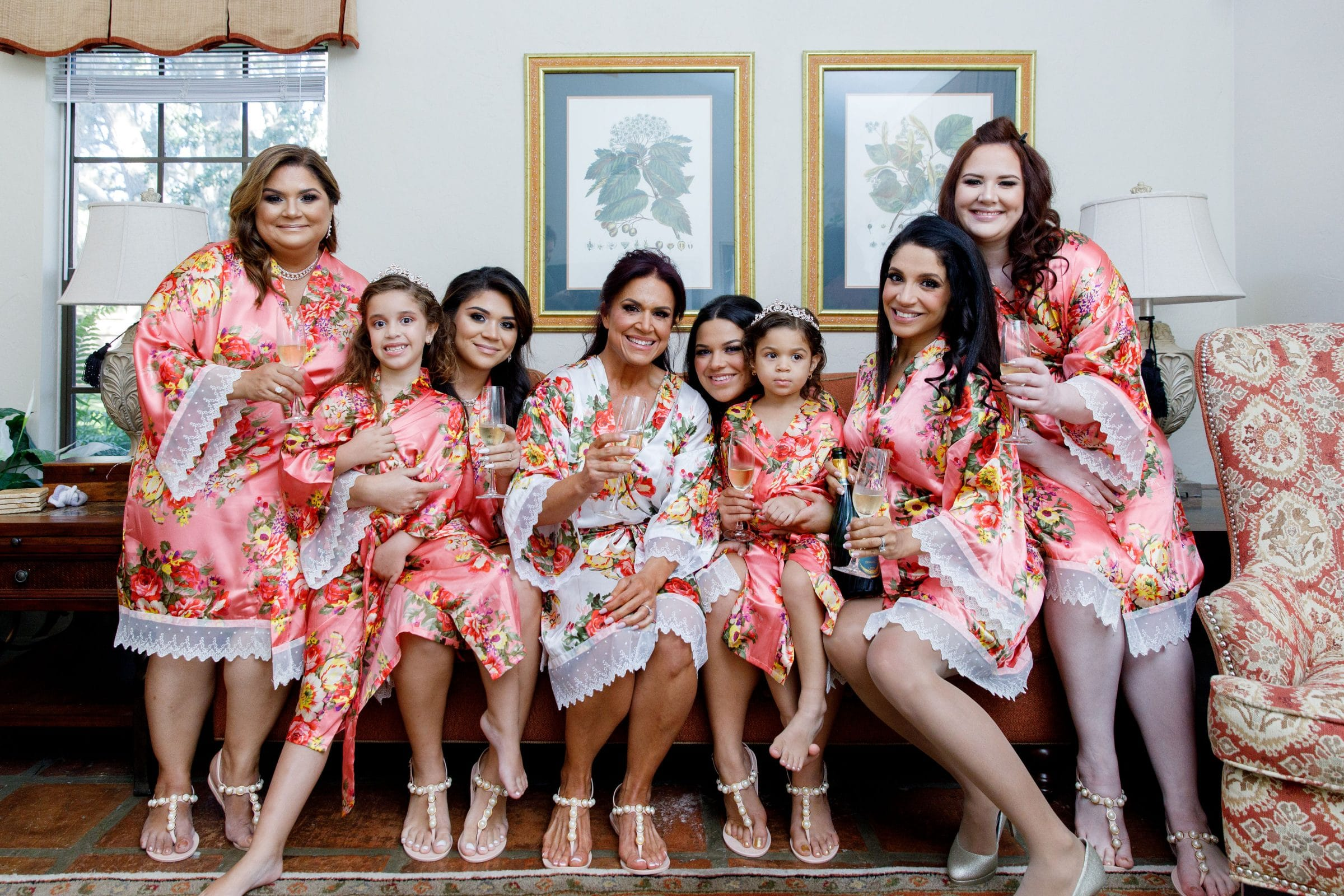 Picture of bridesmaids in pink floral robes