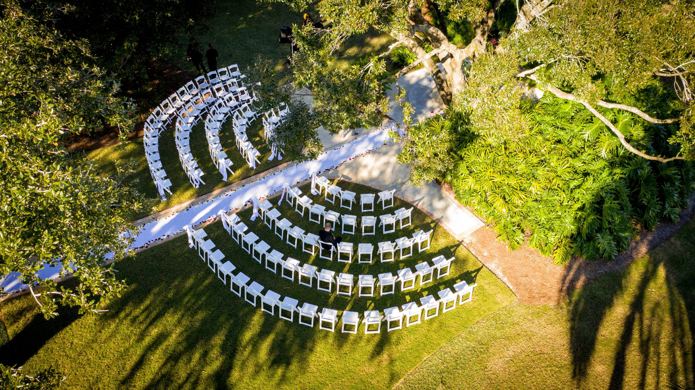 Aerial Shot of Ceremony Chairs set in half moon