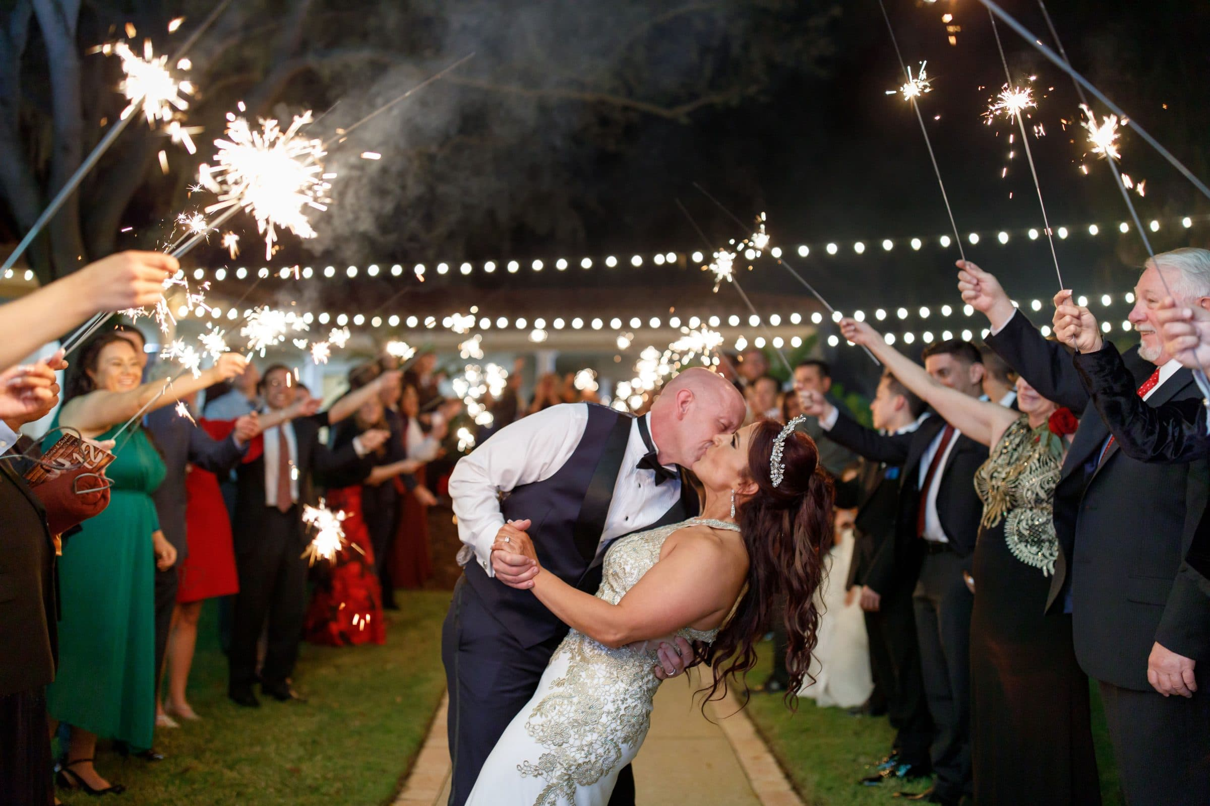 Bride and Groom with Sparkler Exit