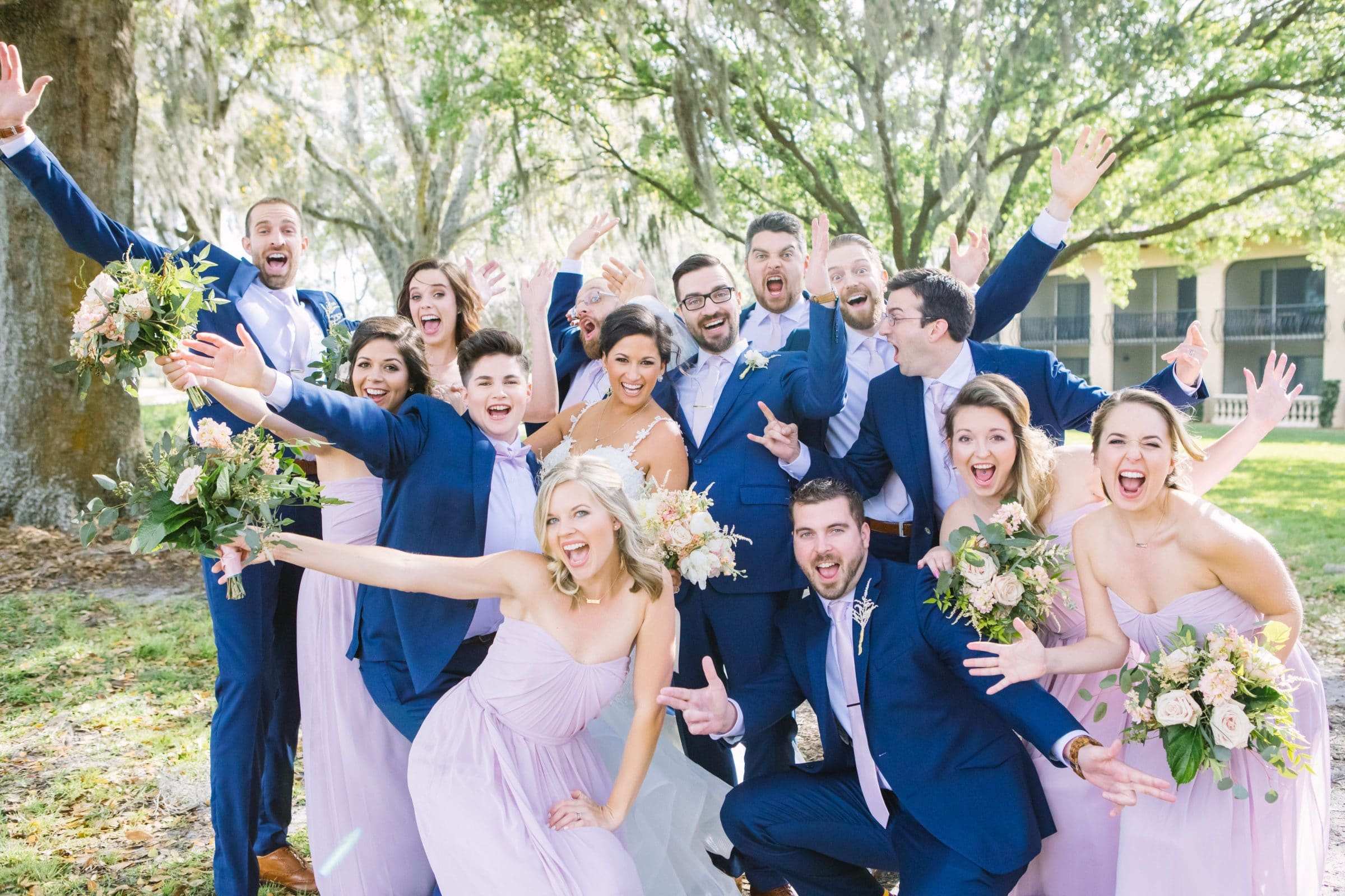 KMD Orlando Wedding Photgrapher Bridal Party Celebrating their Wedding Room Block