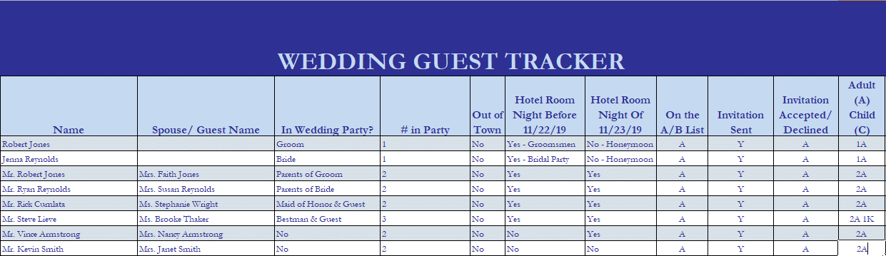 Sample Wedding Room Block Guest Tracker