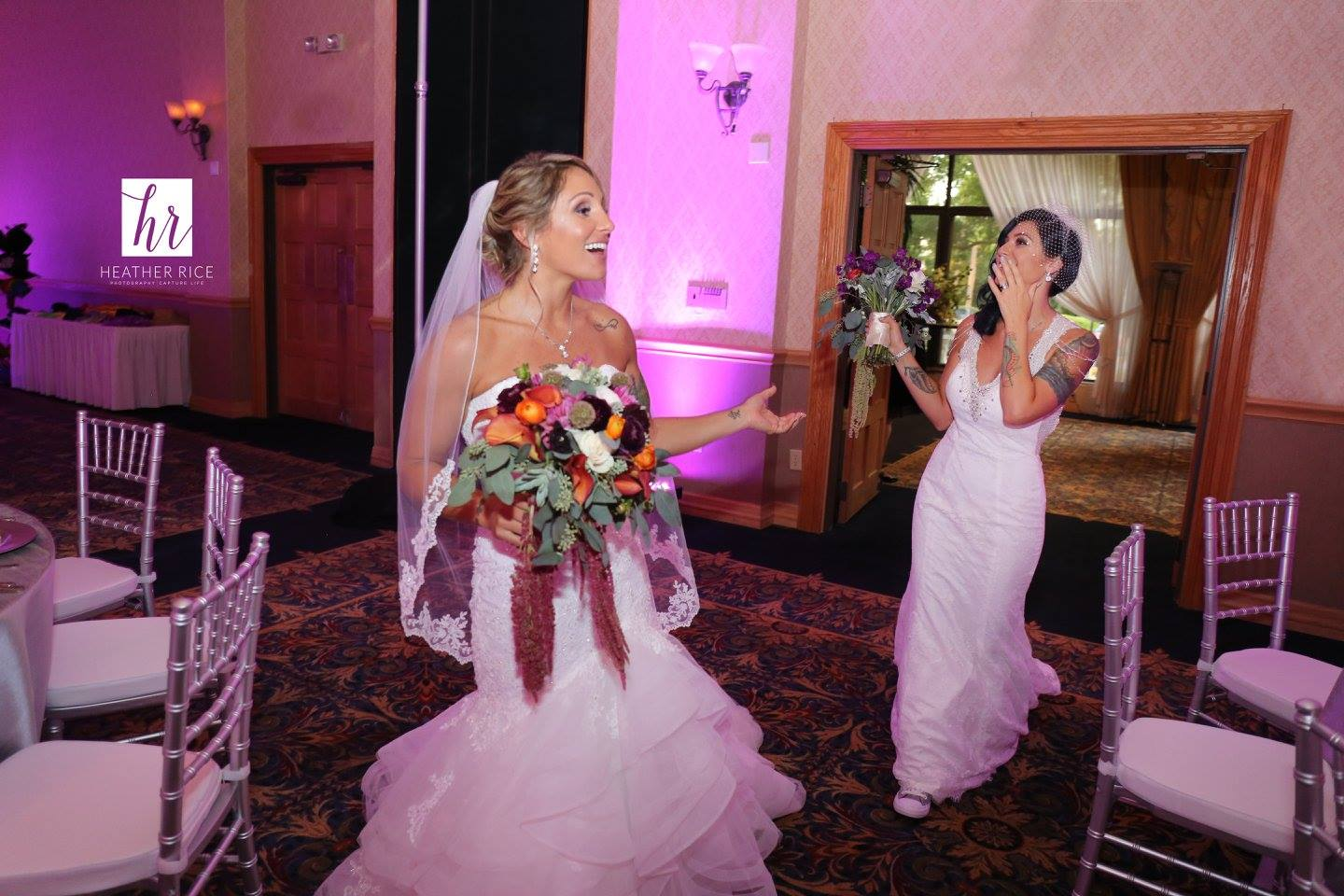 Brides entering wedding reception for ballroom wedding in Orlando