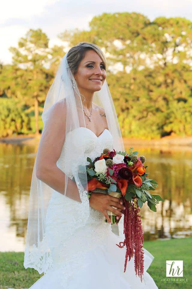 Gorgeous Bride in front of Lake