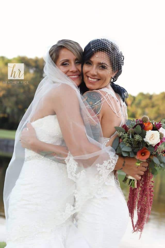 Brides Hugging