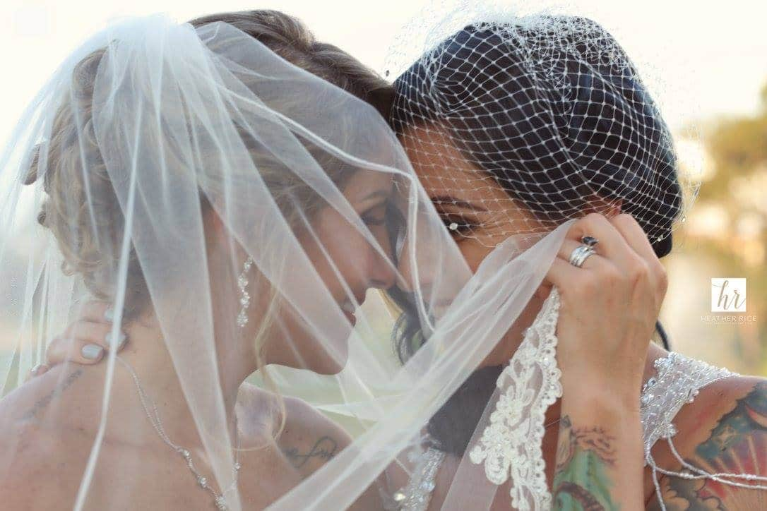 Same Sex Wedding Veil Portrait