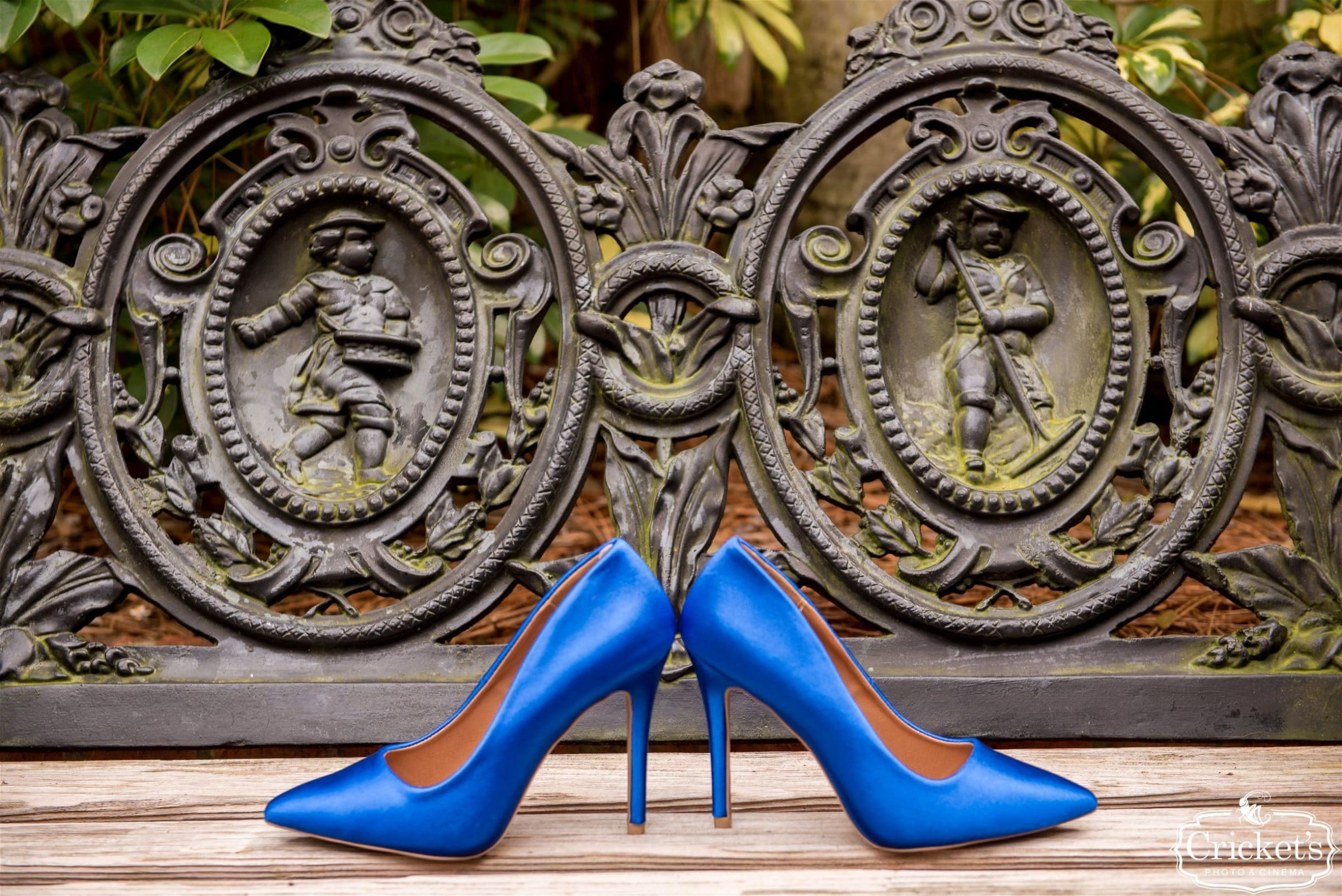 blue wedding shoes on bench