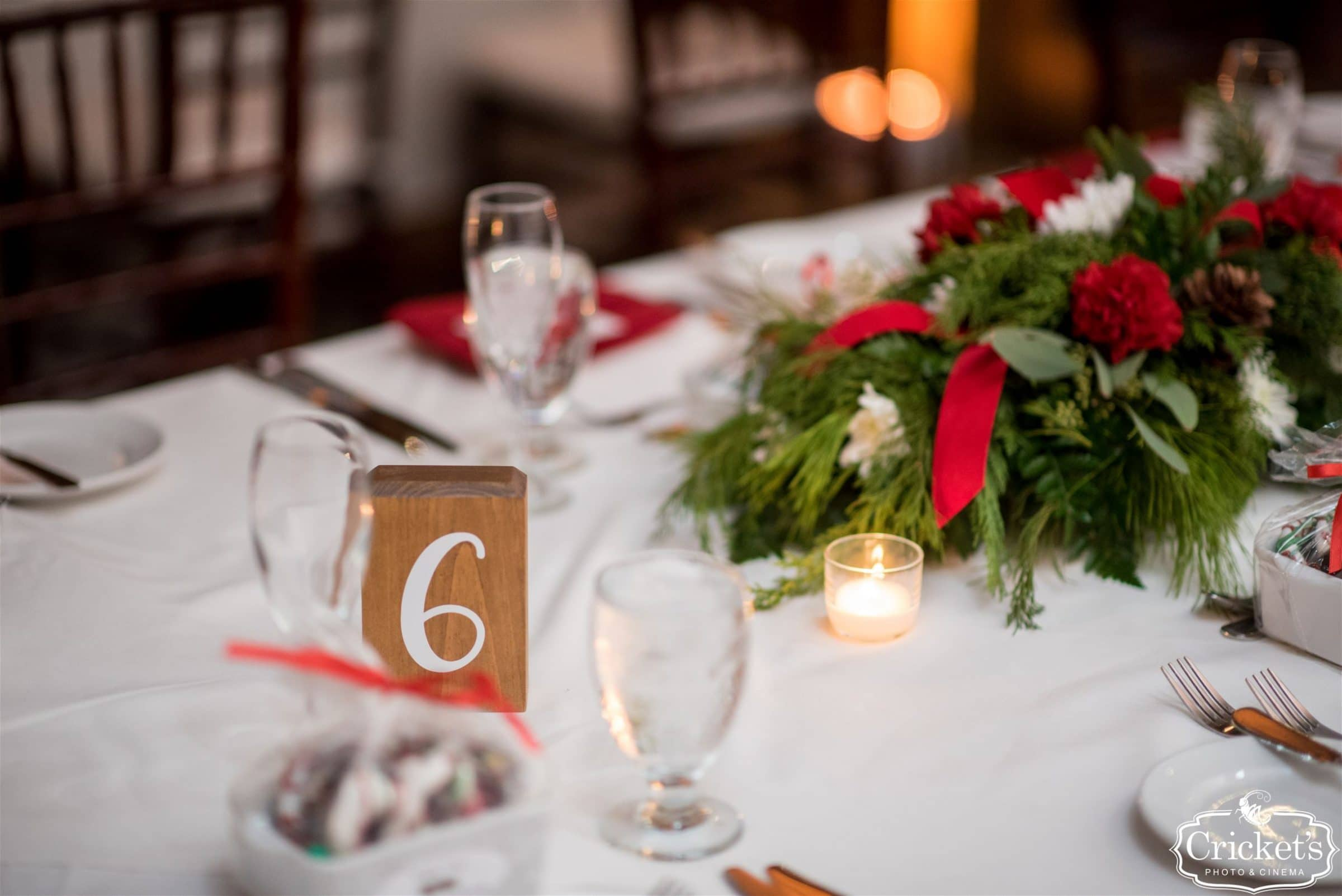 Wedding Tablescape with Red and Green
