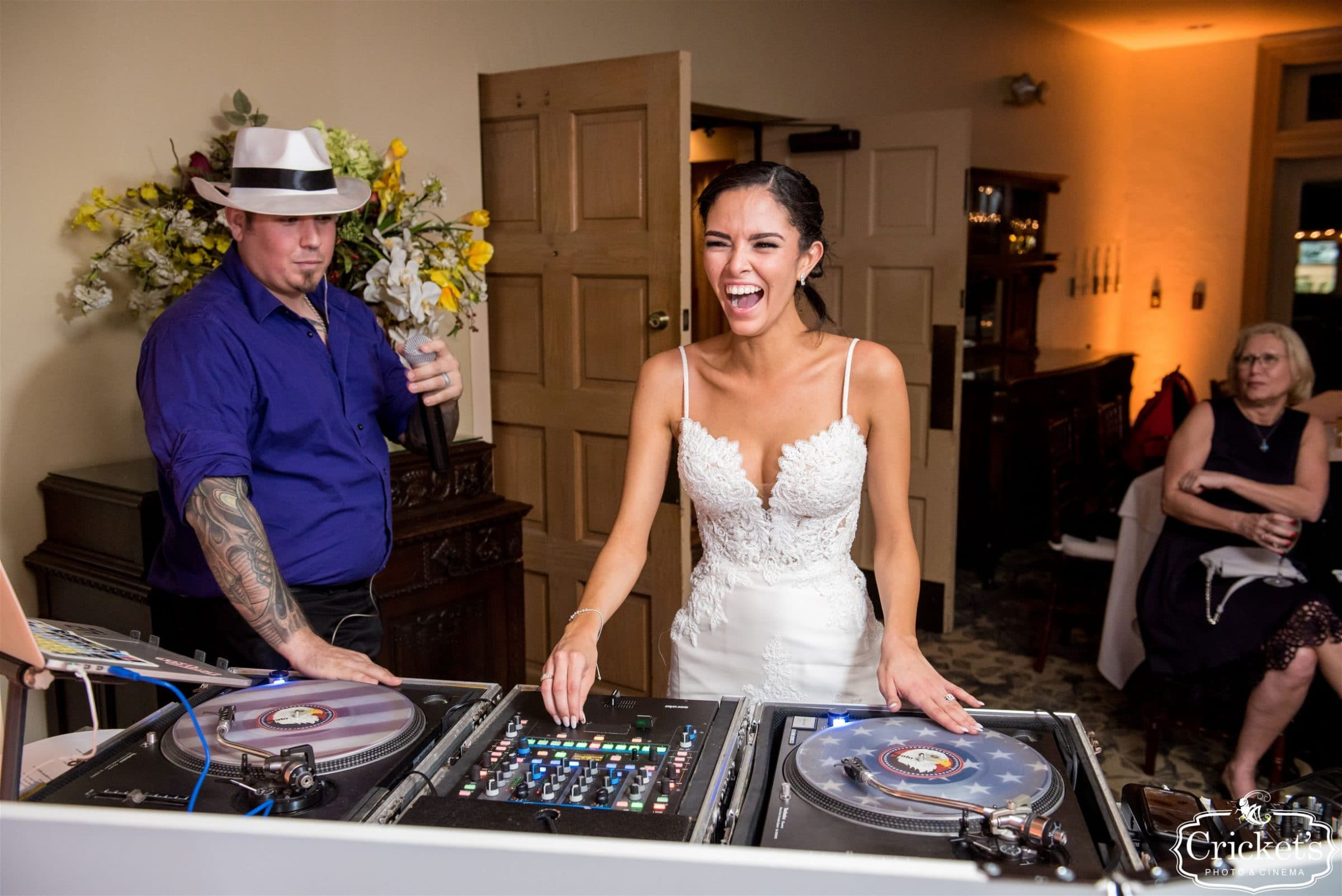 Bride mixing it with Orlando DJ