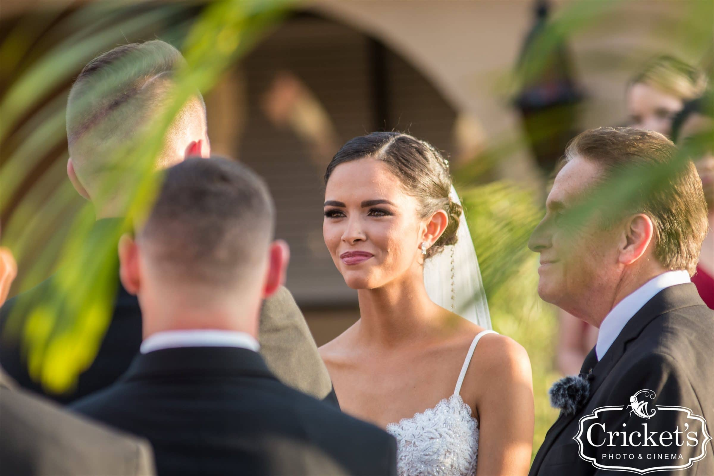 Bride getting emotional during ceremony