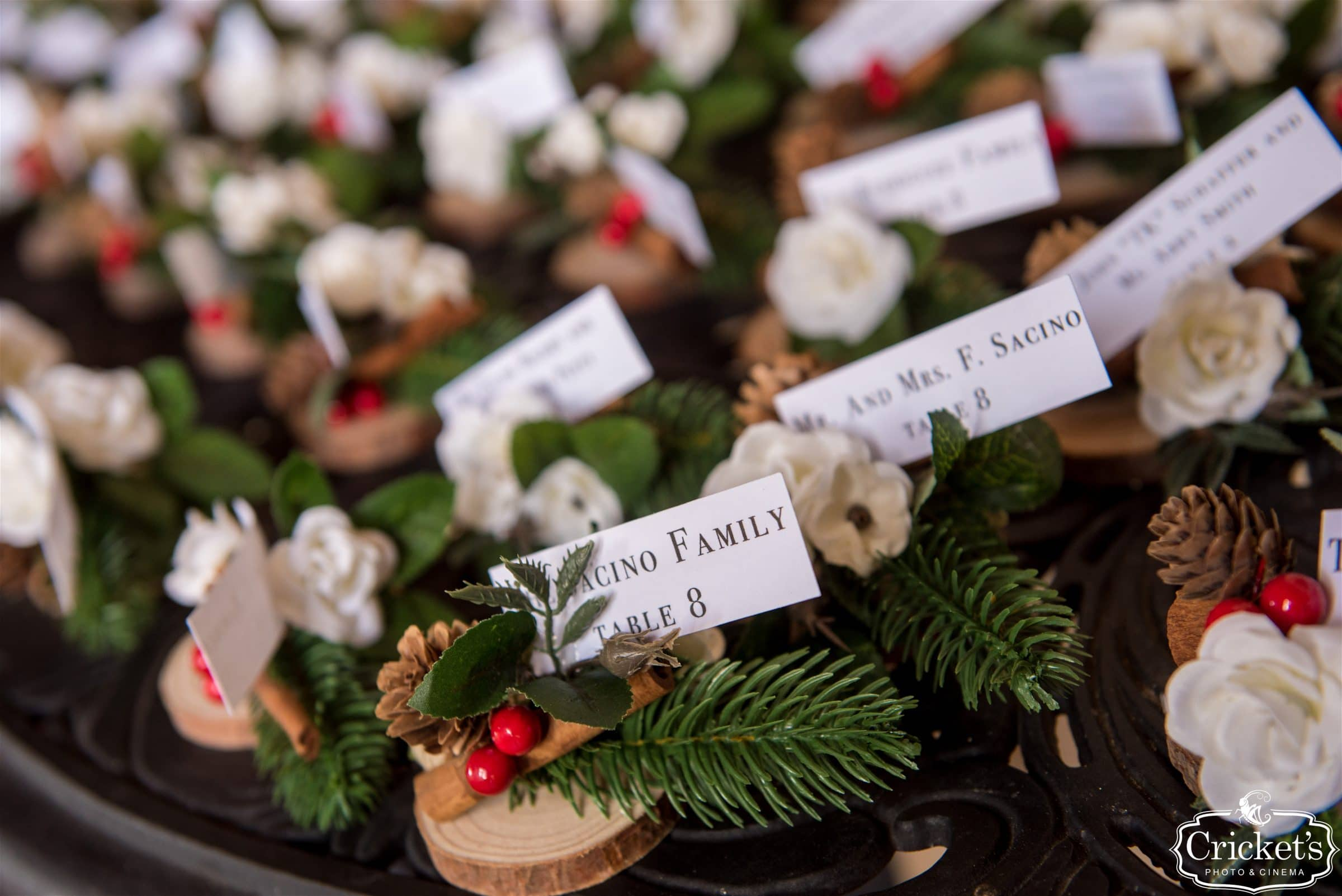 Christmas wedding escort cards