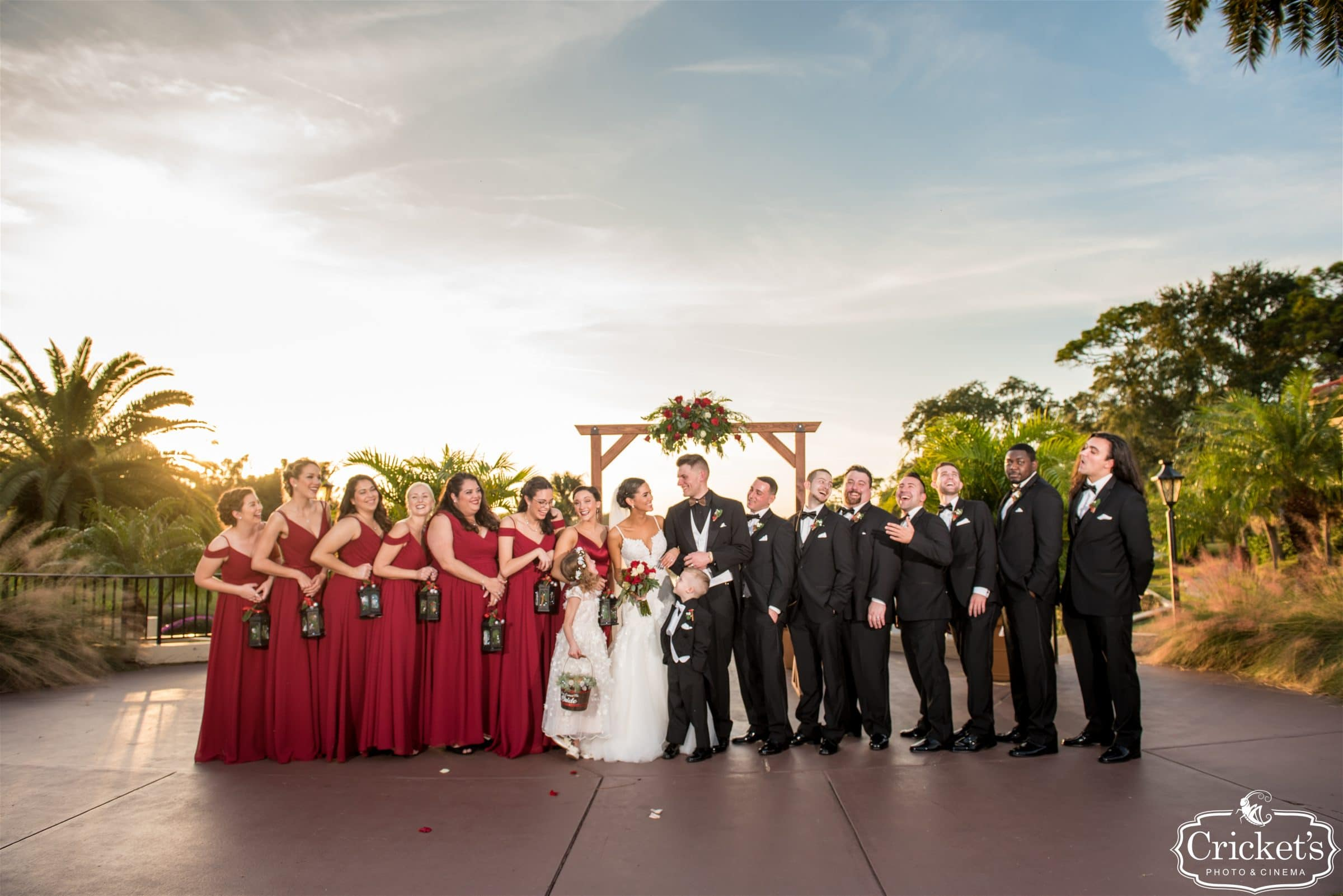 Wedding Bridal Party for Central Florida Christmas Wedding