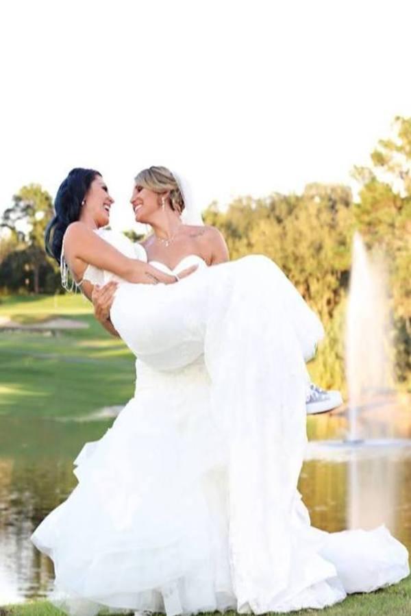 Two Brides at Mission Inn Resort for Orlando Same Sex Wedding