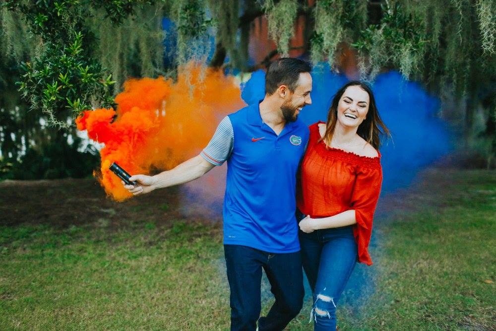 Blue and Orange Color Couple Date