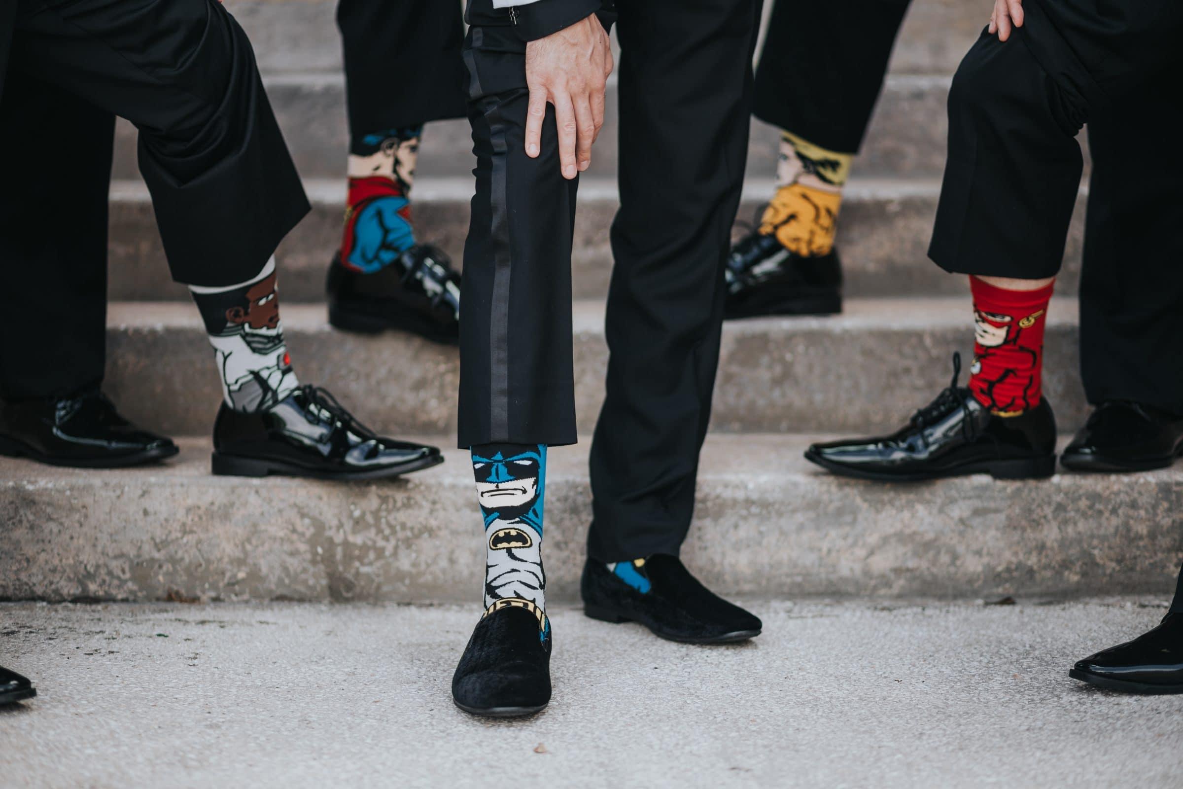 Superhero Socks at Wedding