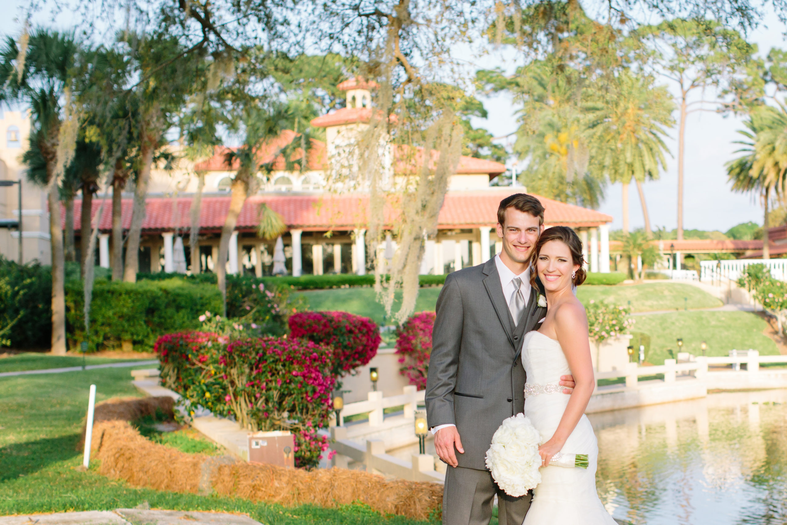 Bride and Groom in front of Mission Inn Resort