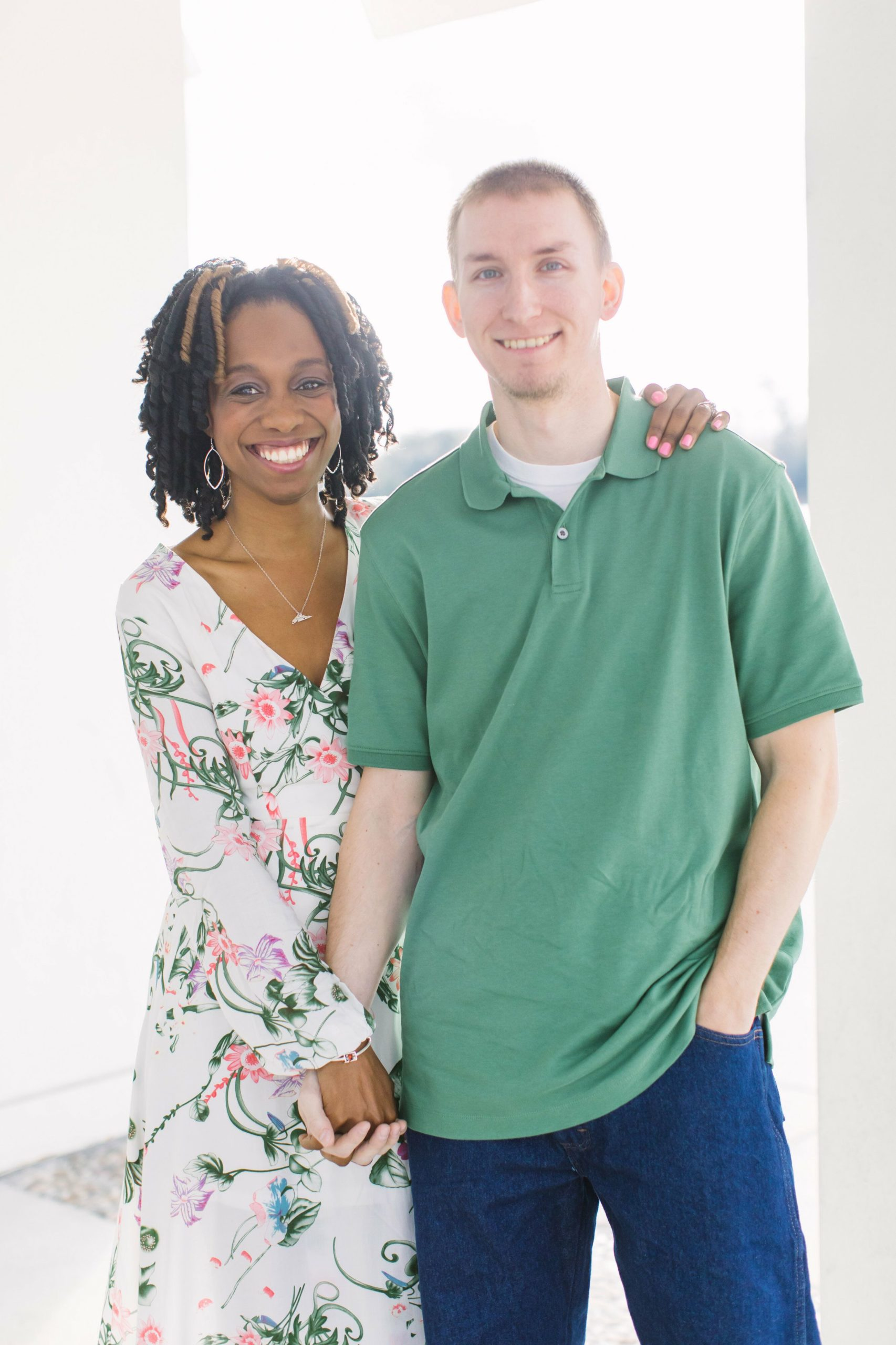 African American Female Bride with Caucasian Male Groom in Green Shirt