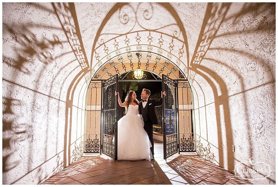 Bride and groom at iron gate for wedding portrait