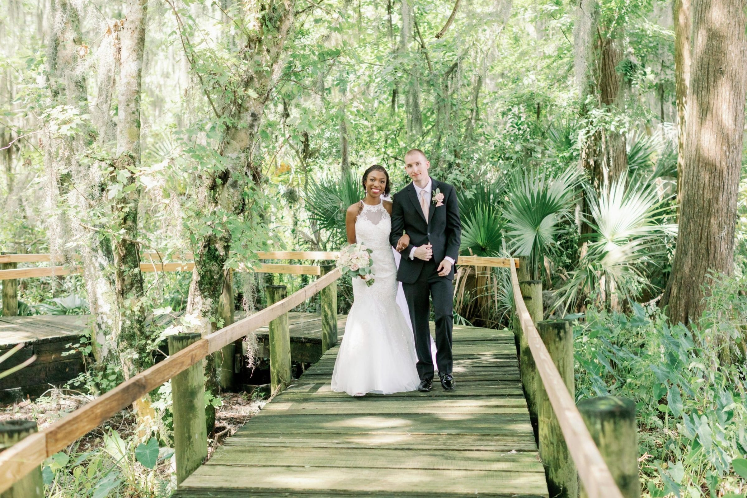 Walking on Boardwalk with Spanish Moss