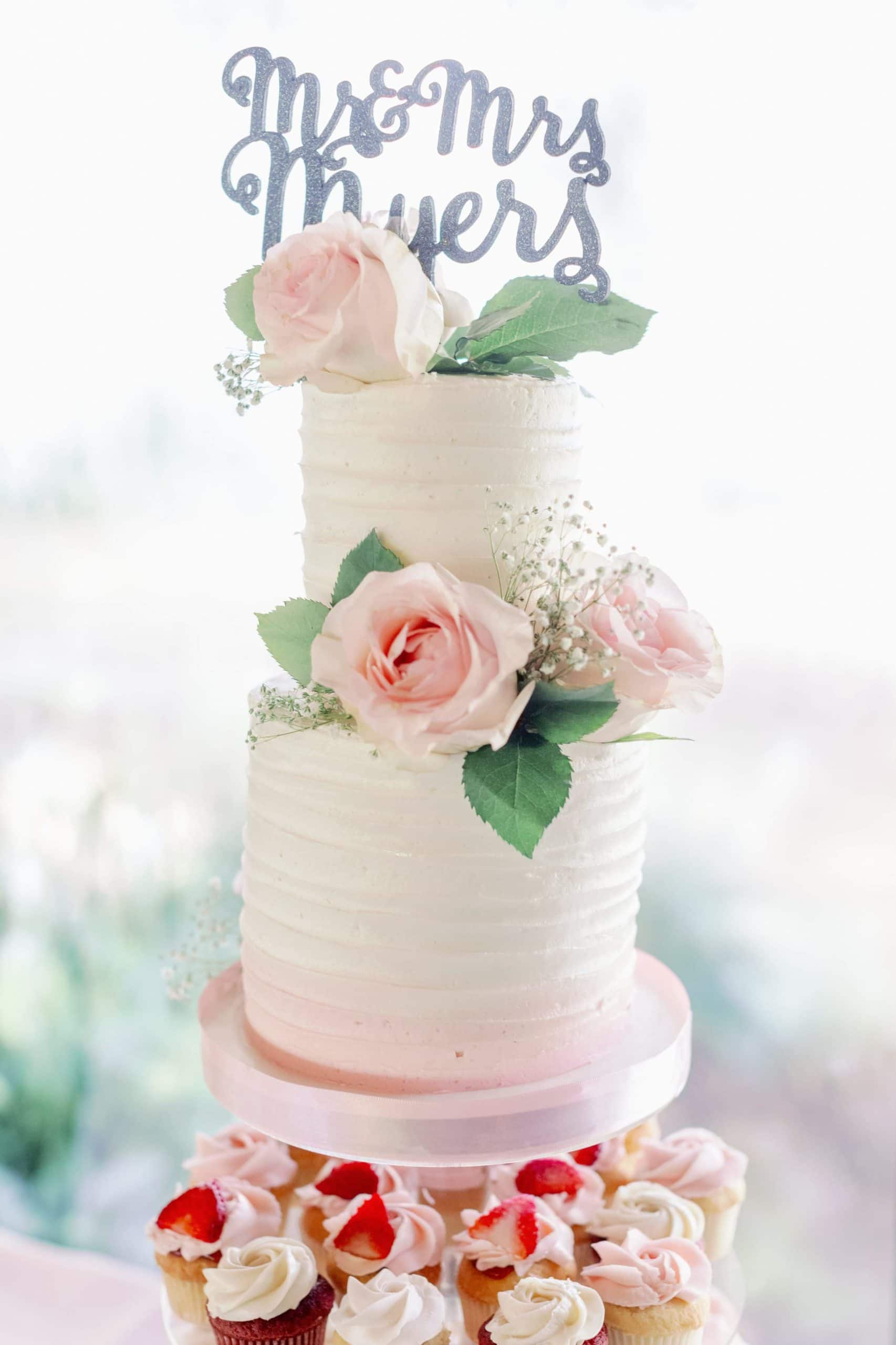 pink and white miniature wedding cake