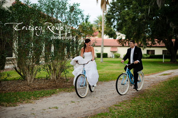Bride and Grooms Riding Bikes