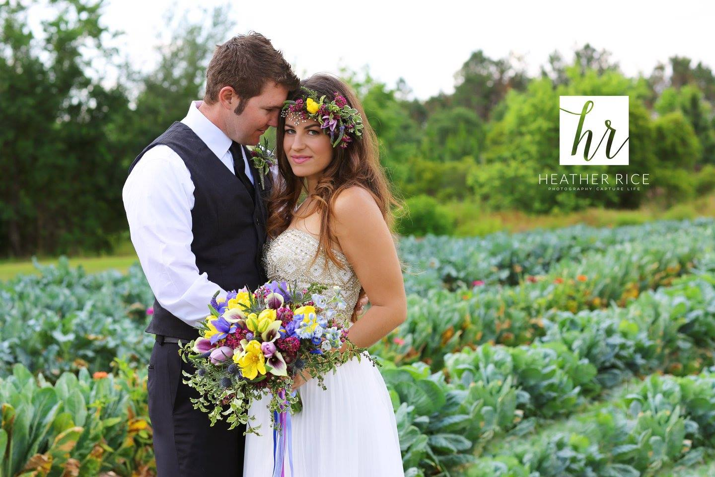Bride and Groom in Vegetable Patch
