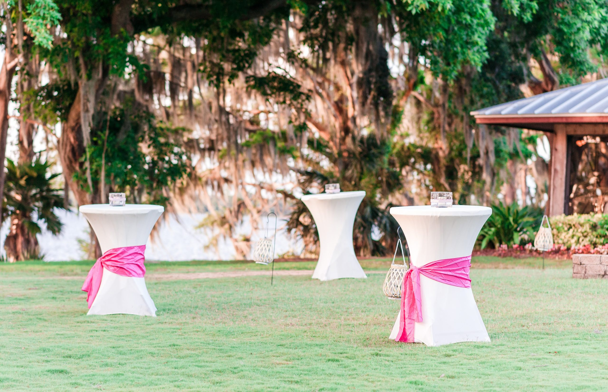 cocktail tables in front of the lake with white and pink linen