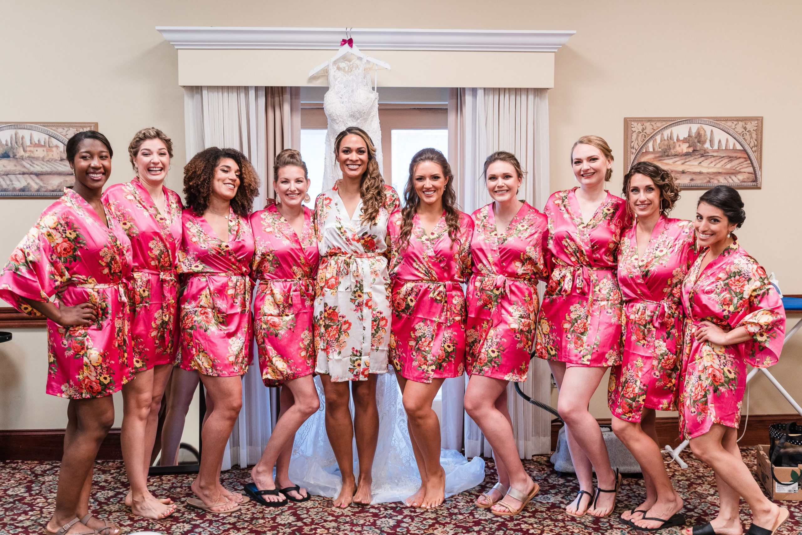 bridesmaids and bride in ready room