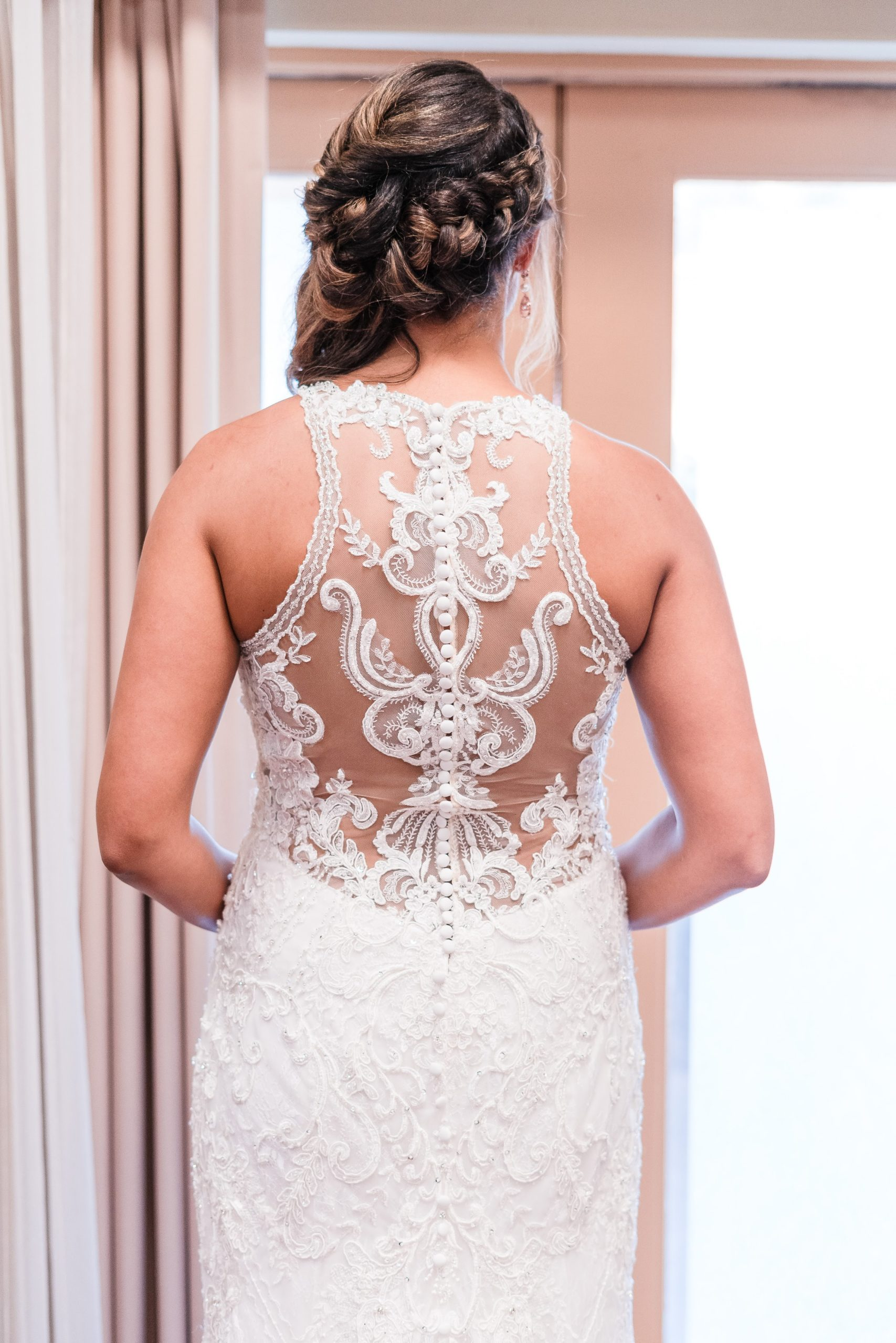 details of back of wedding dress