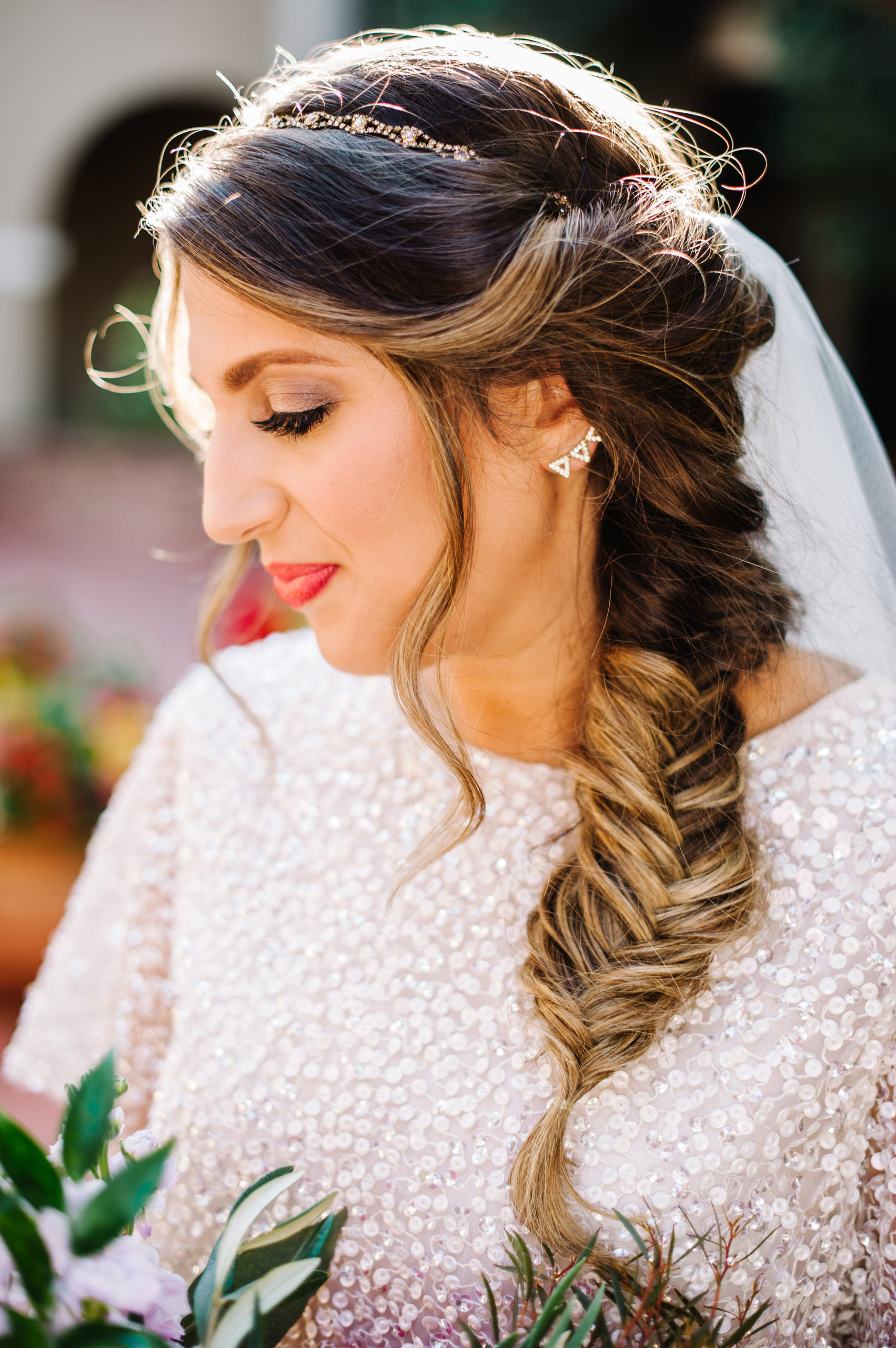 Gorgeous Side Swept Fishtail Braid Bridal Hair Styles