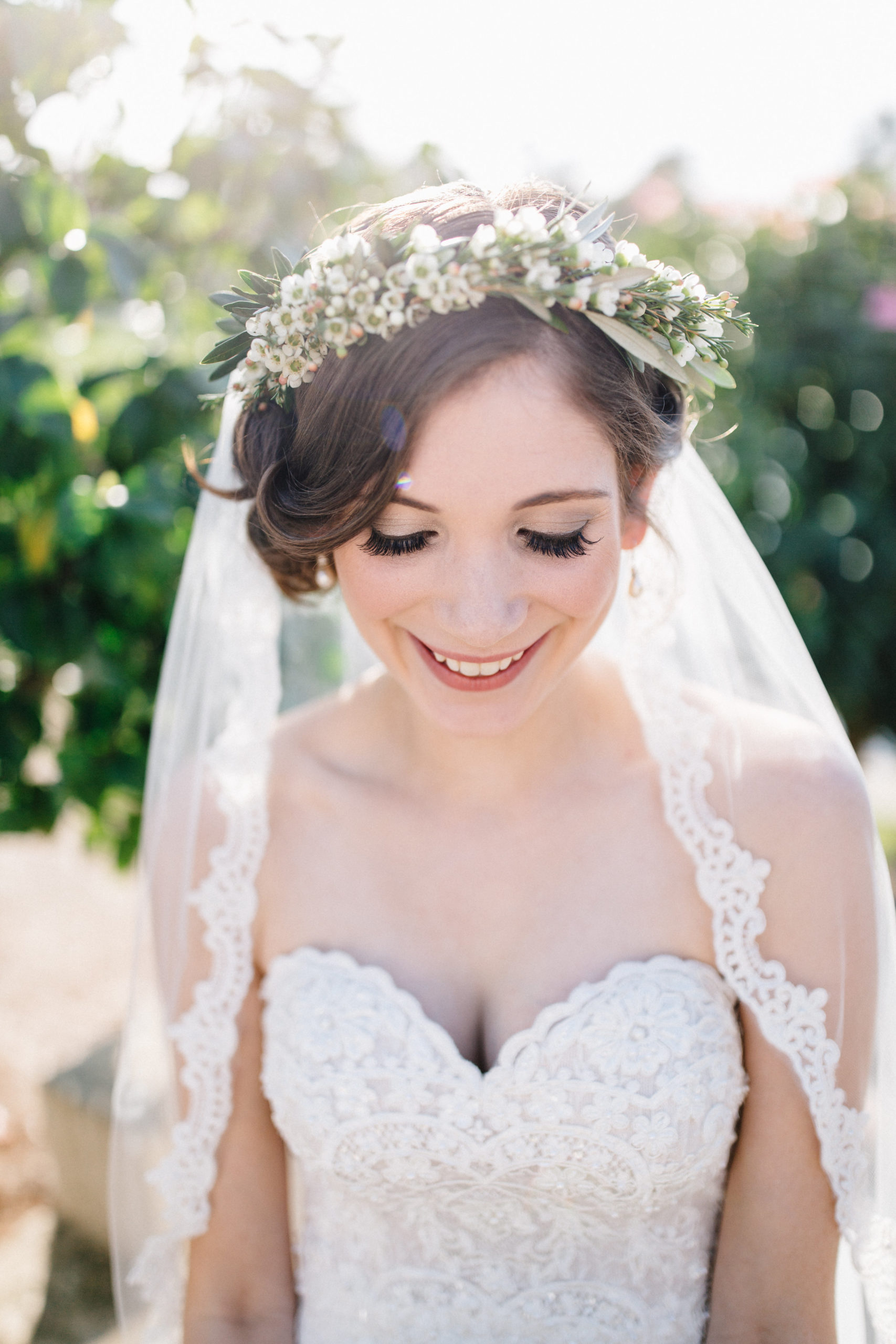 Bride in wedding dress with vintage hair style