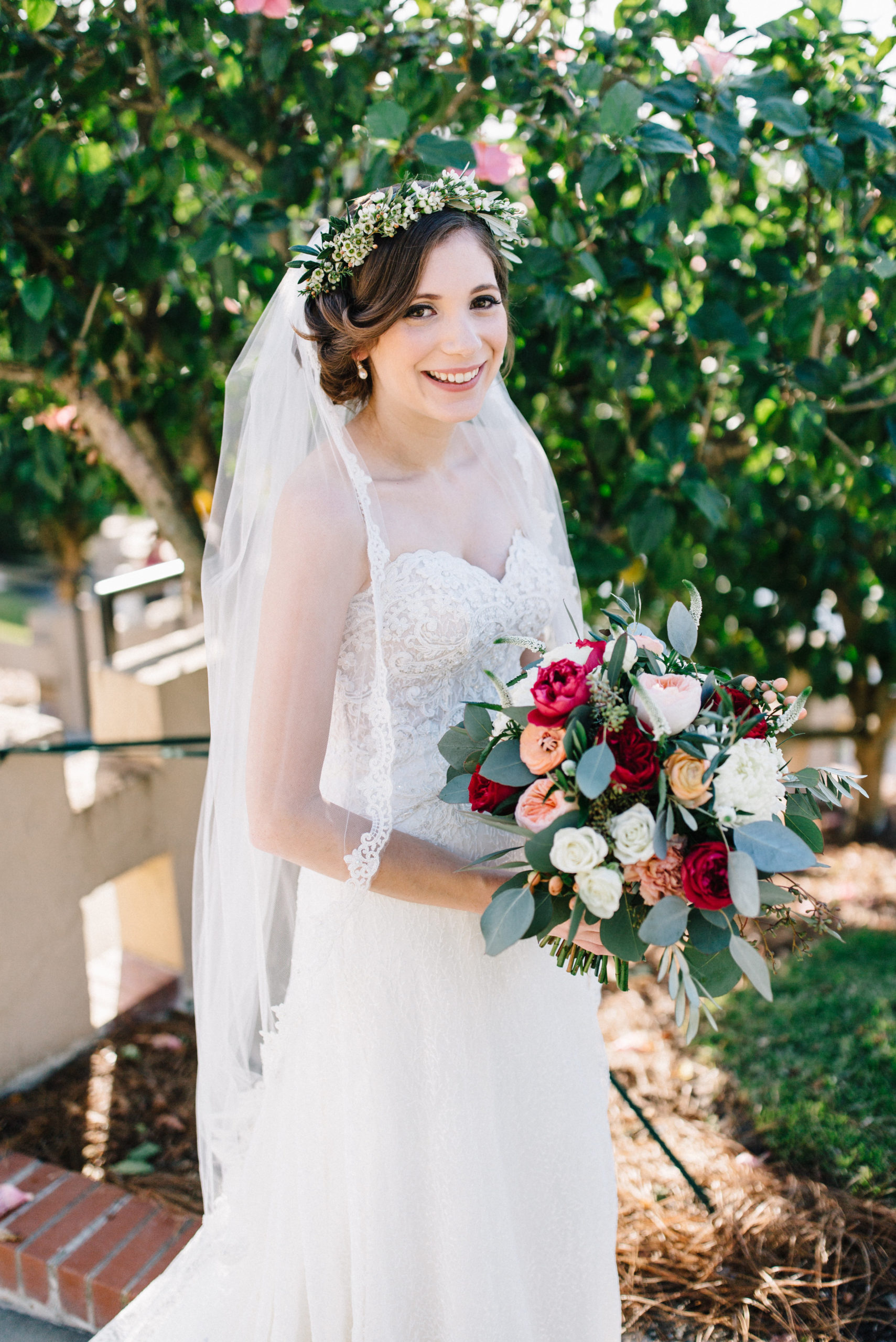 bride with beautiful vintage hair with flowers