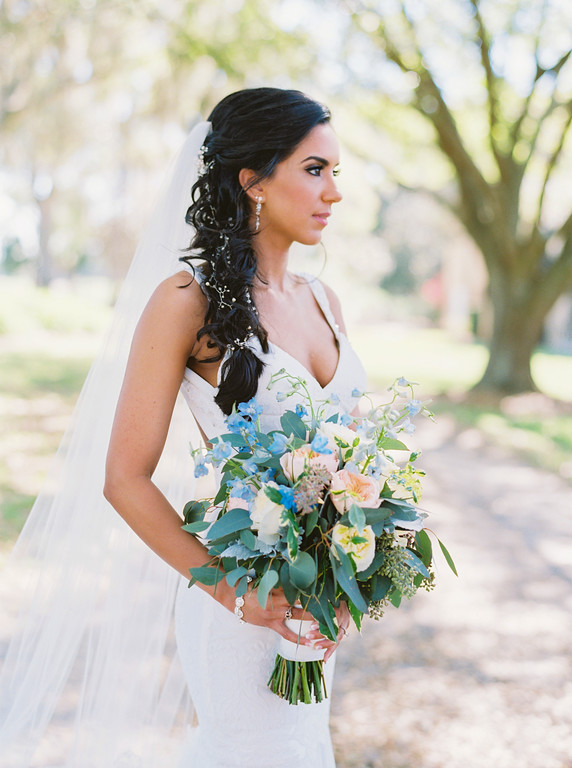 Bridal braid with curls hairstyle