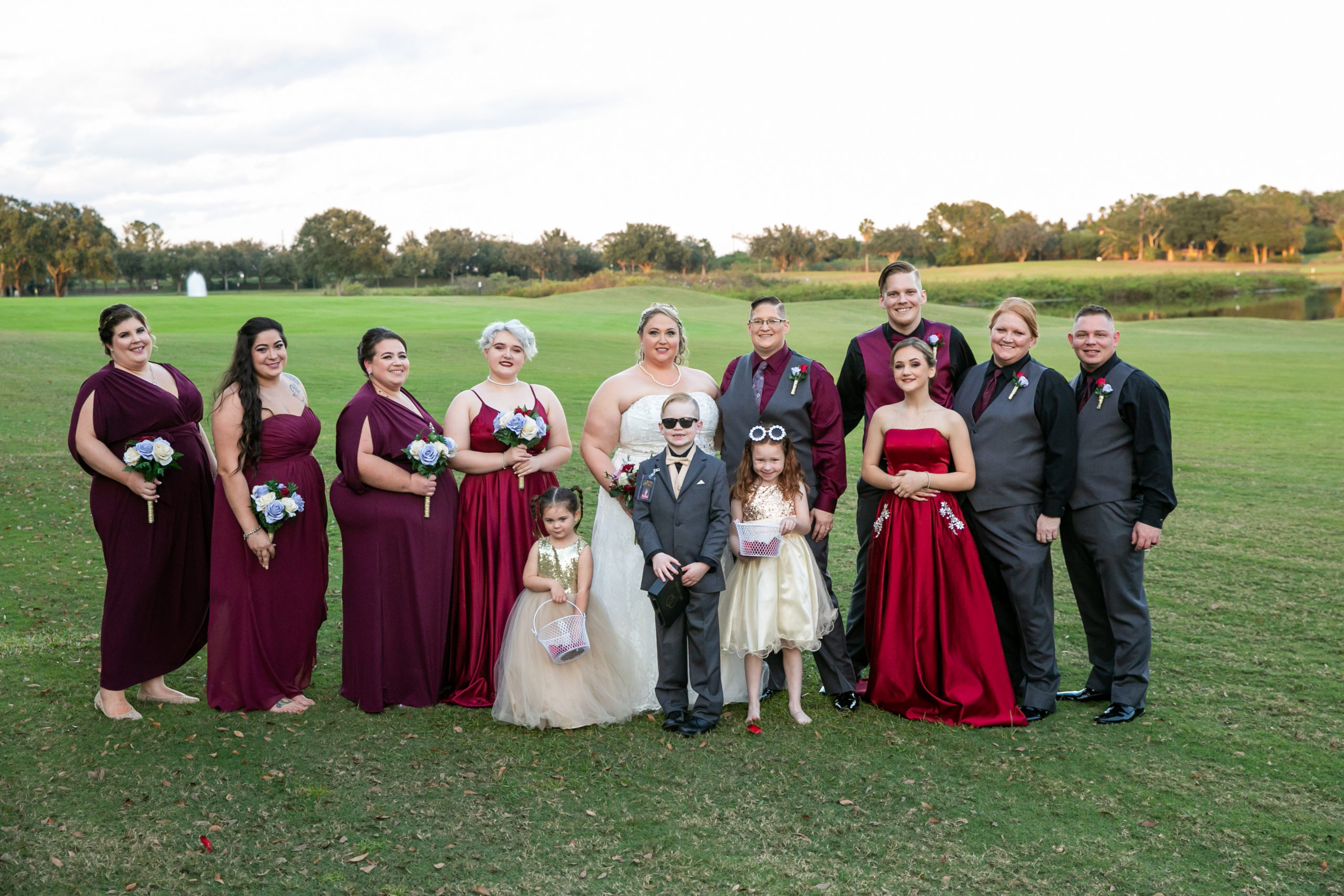Burgundy Bridal Party Photo