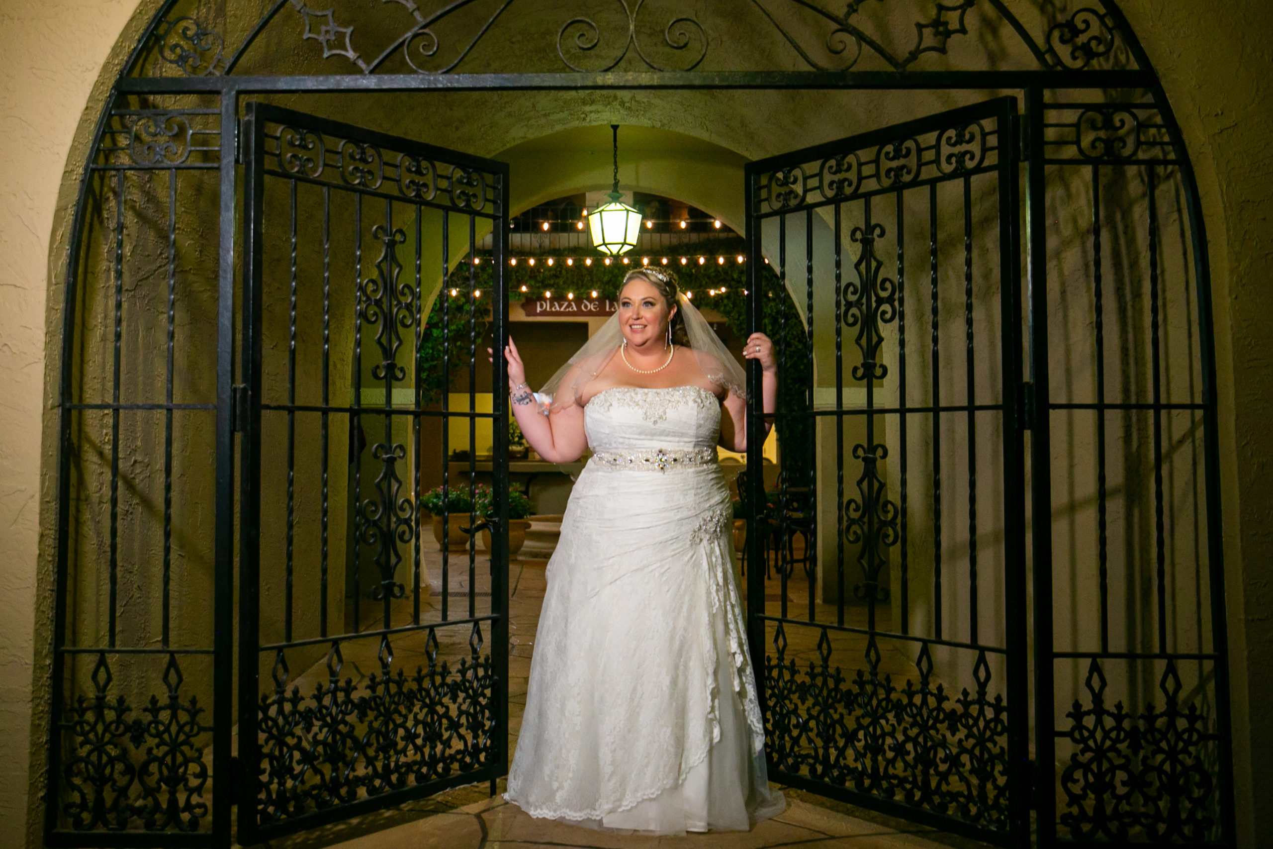 Bride at Mission Inn Gates