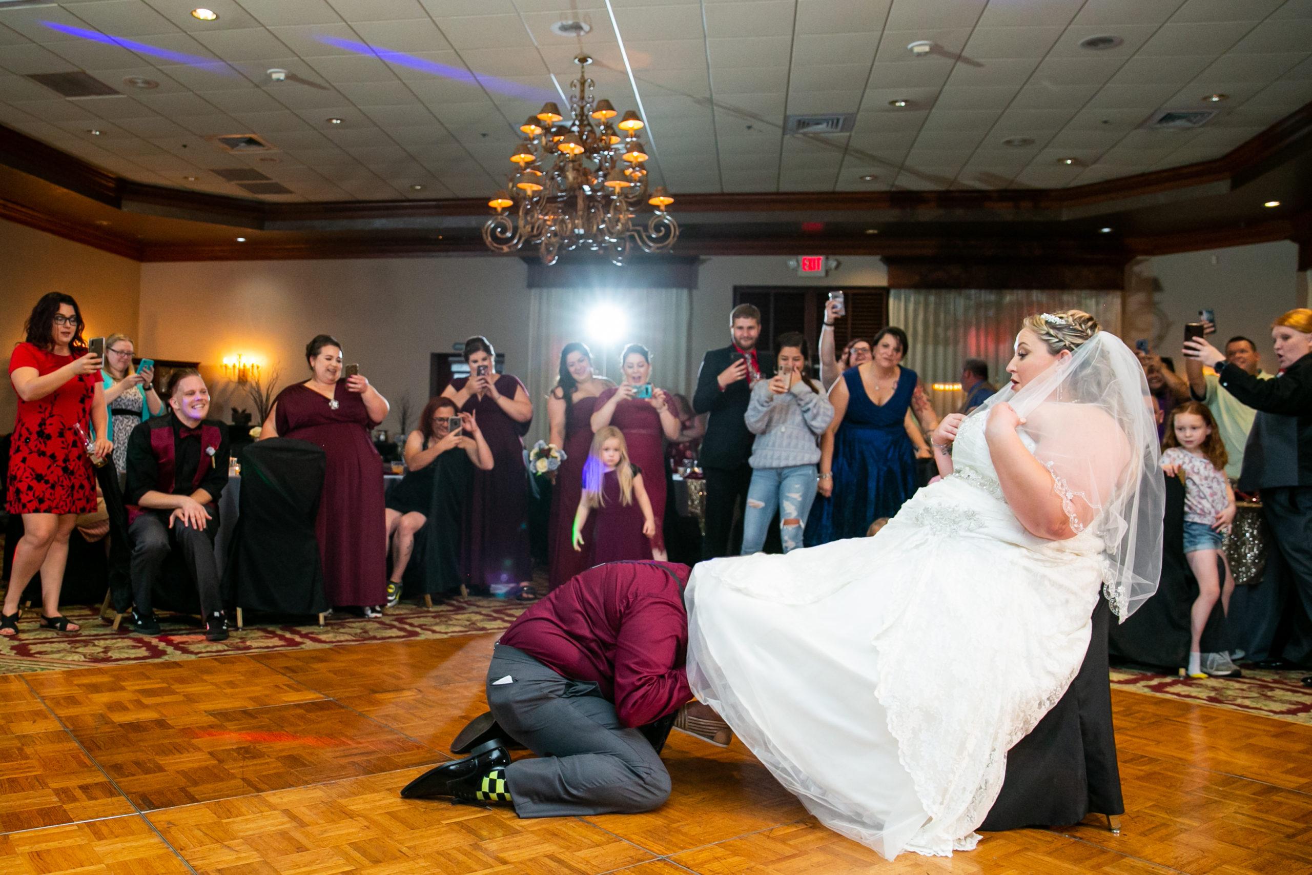 bride under her brides dress