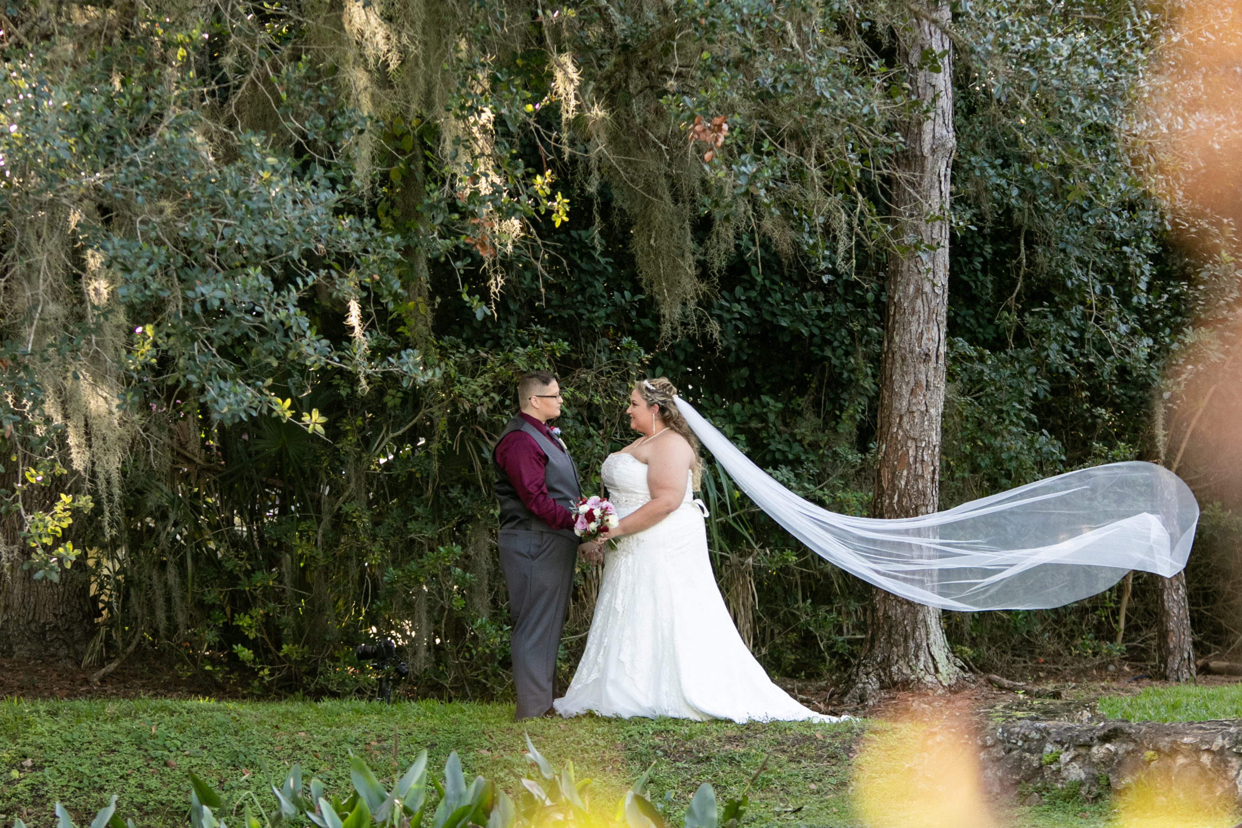 brides in front of greenery with veil blowing in the wind