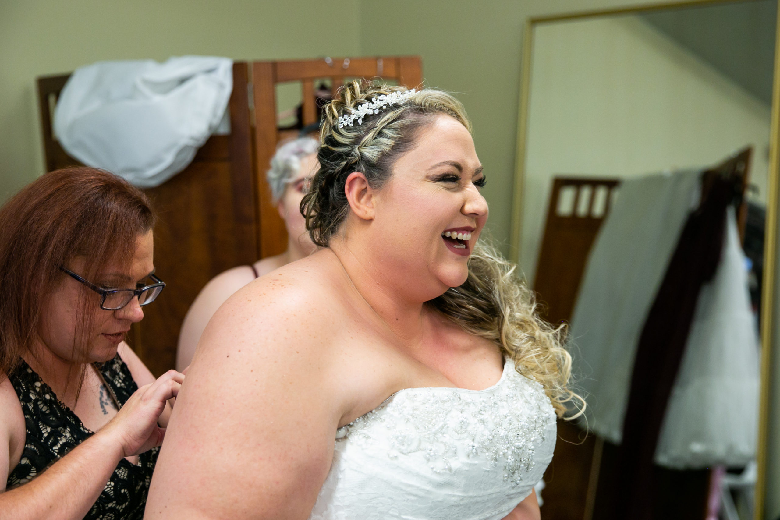 bride smiling on wedding day