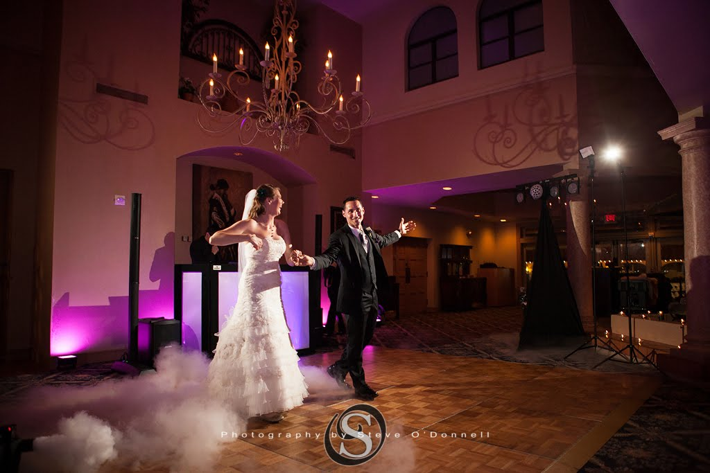 bride and groom entrance into wedding reception with cloud