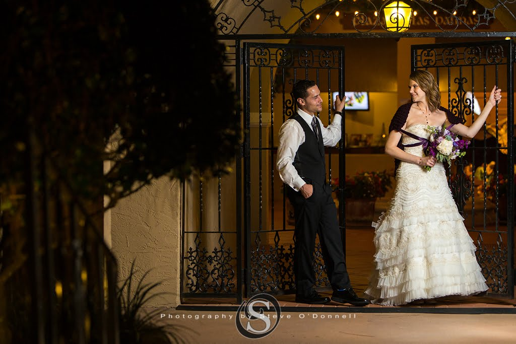 bride and groom at iron gate
