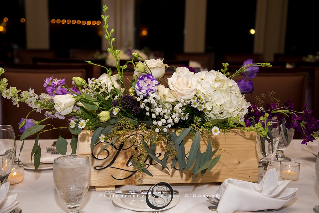 Wooden Centerpiece box with purple wedding flowers
