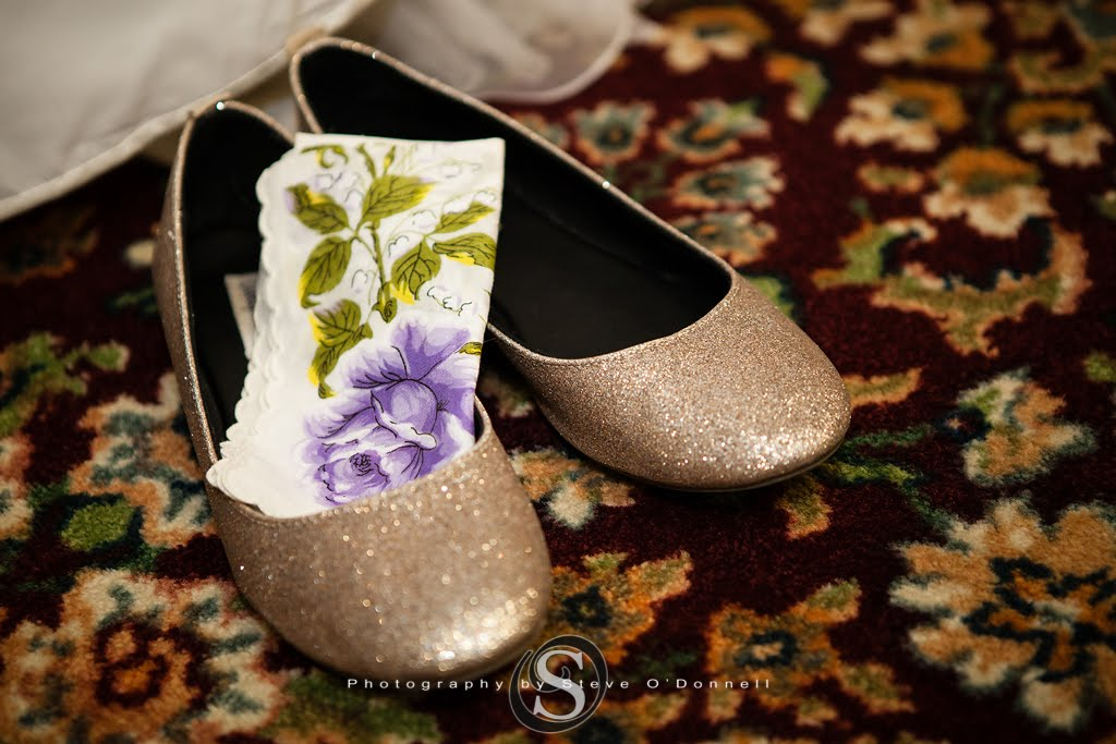 rose gold glitter wedding flats with a handkerchief with a purple flower