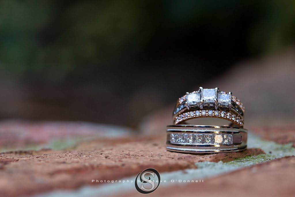 Two Wedding Bands on a brick wall at a florida wedding venue