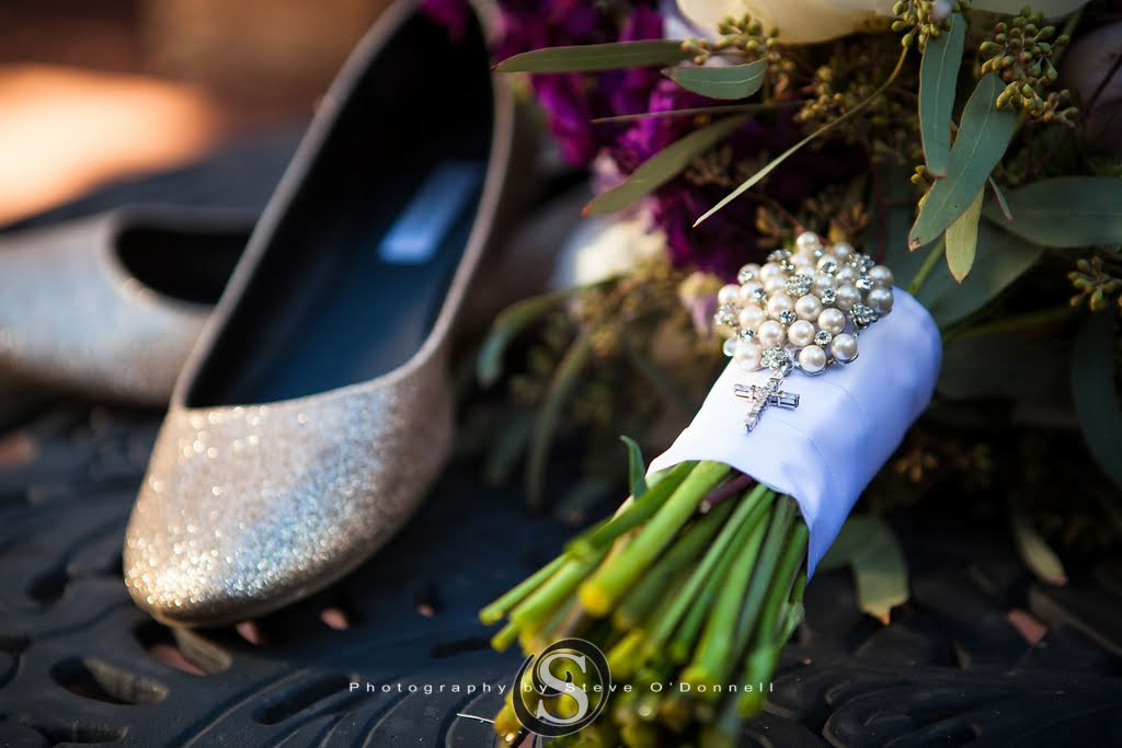 Wedding Shoes with Purple Floral Bouquet