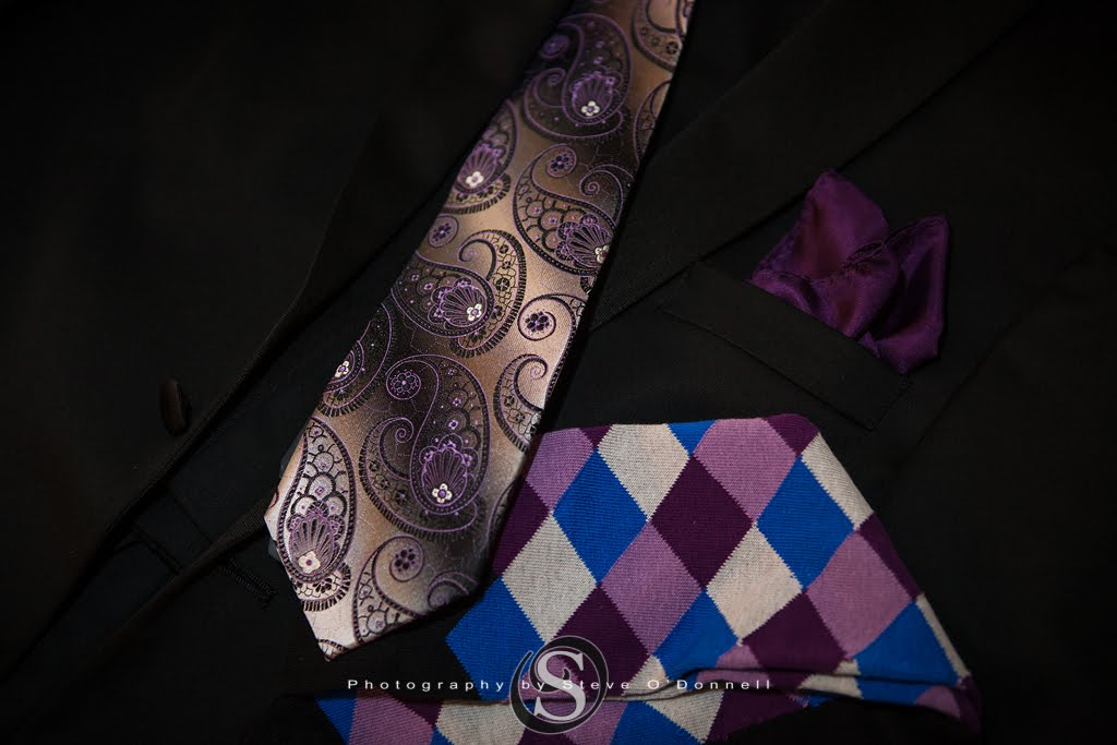 Grooms attire for a purple wedding