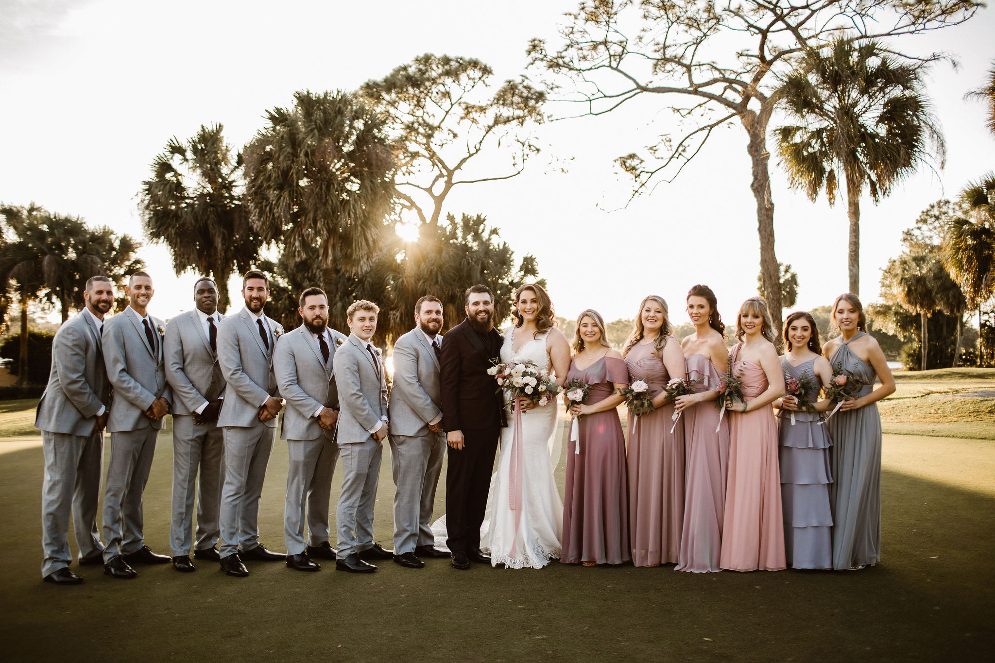 wedding party in mauve and grey
