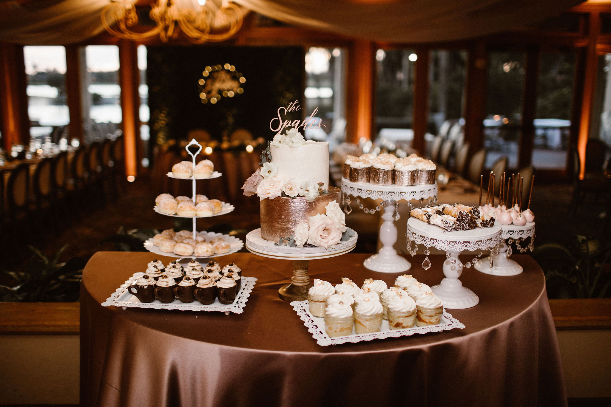 Wedding Dessert Display with Rose Gold Cake