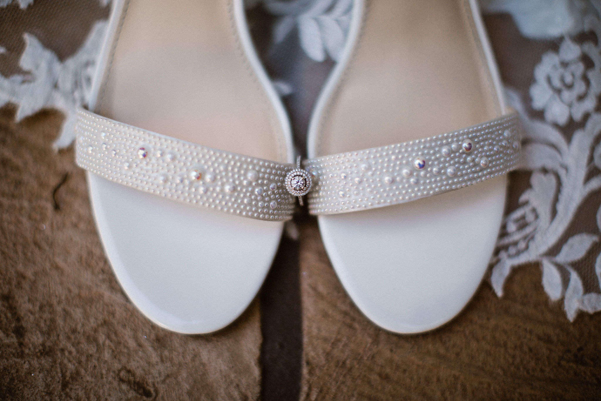 Romantic White Wedding Shoes with Veil and Engagement Ring